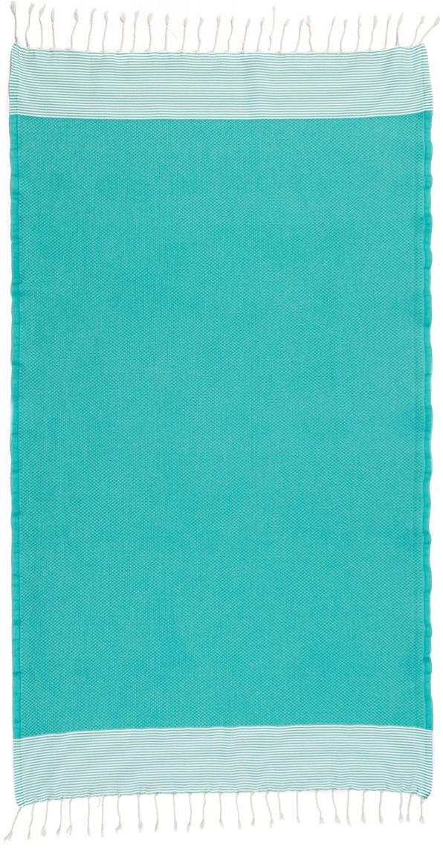 Telo mare in cotone Ibiza, Cotone Qualità molto leggera, 200g/m², Verde turchese, bianco, Larg. 100 x Lung. 200 cm