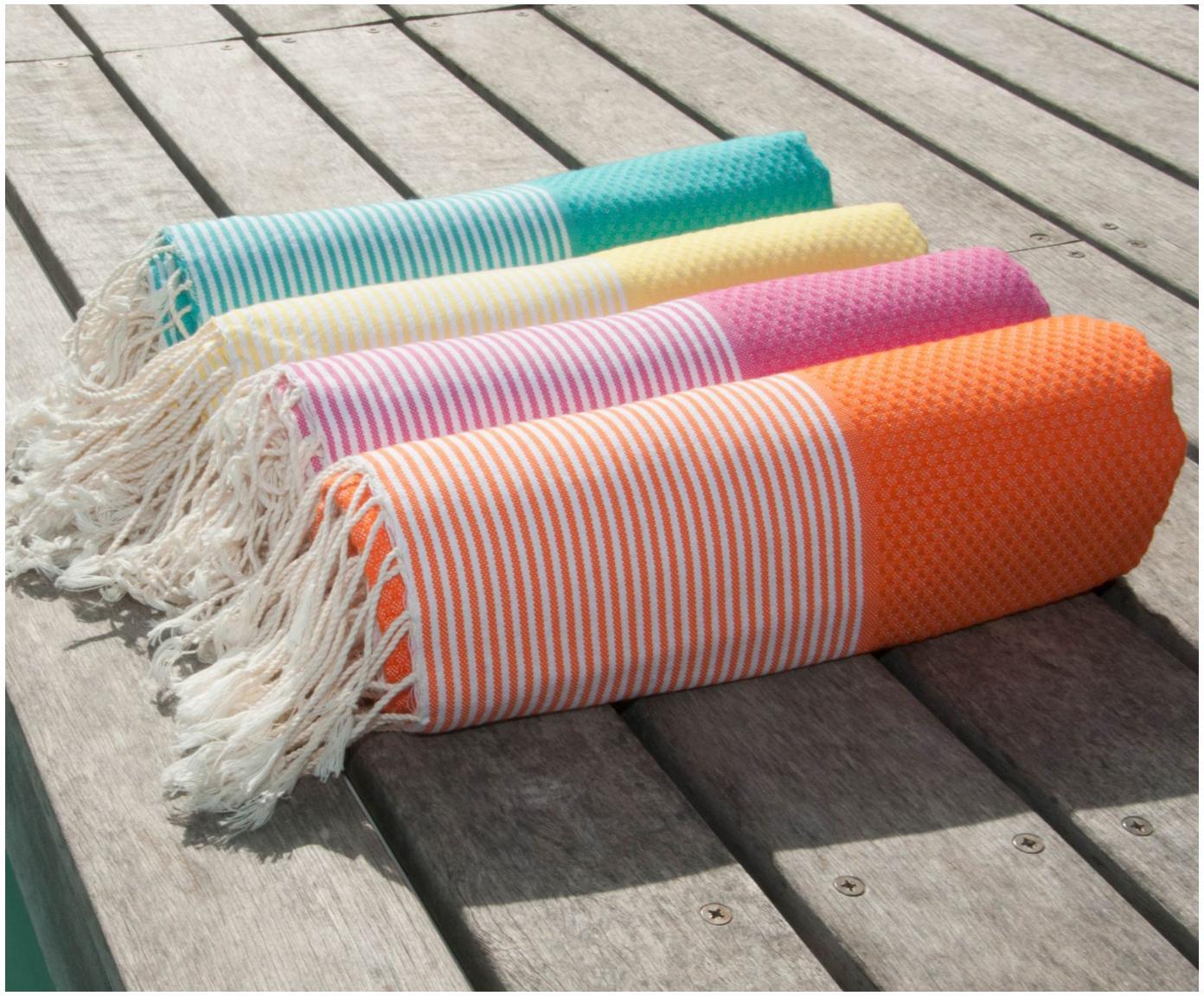 Ręcznik plażowy Ibiza, Bawełna, Bardzo niska gramatura, 200 g/m², Butelkowa zieleń, biały, S 100 x D 200 cm