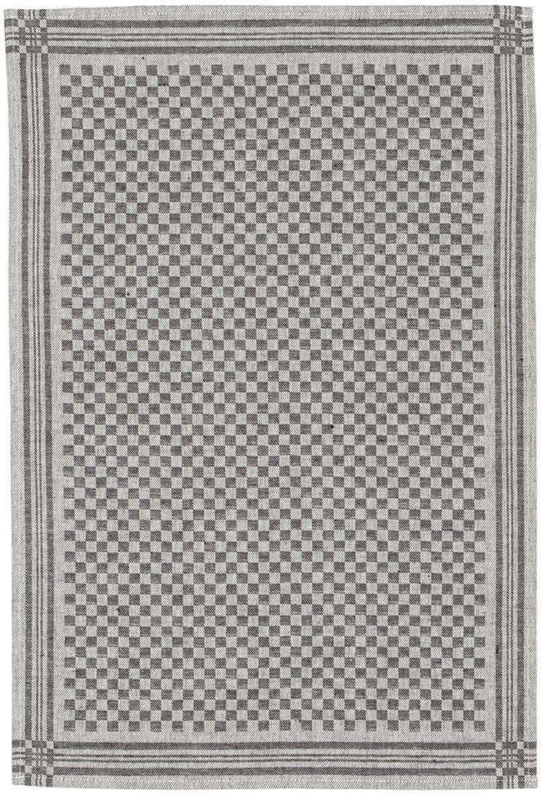 Paños de cocina de lino y algodón Schachbrett, 2uds., Negro, crema, An 50 x L 70 cm