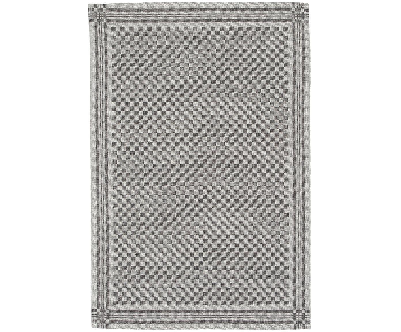 Ręcznik kuchenny Schachbrett, 2szt., Czarny, kremowy, S 50 x D 70 cm