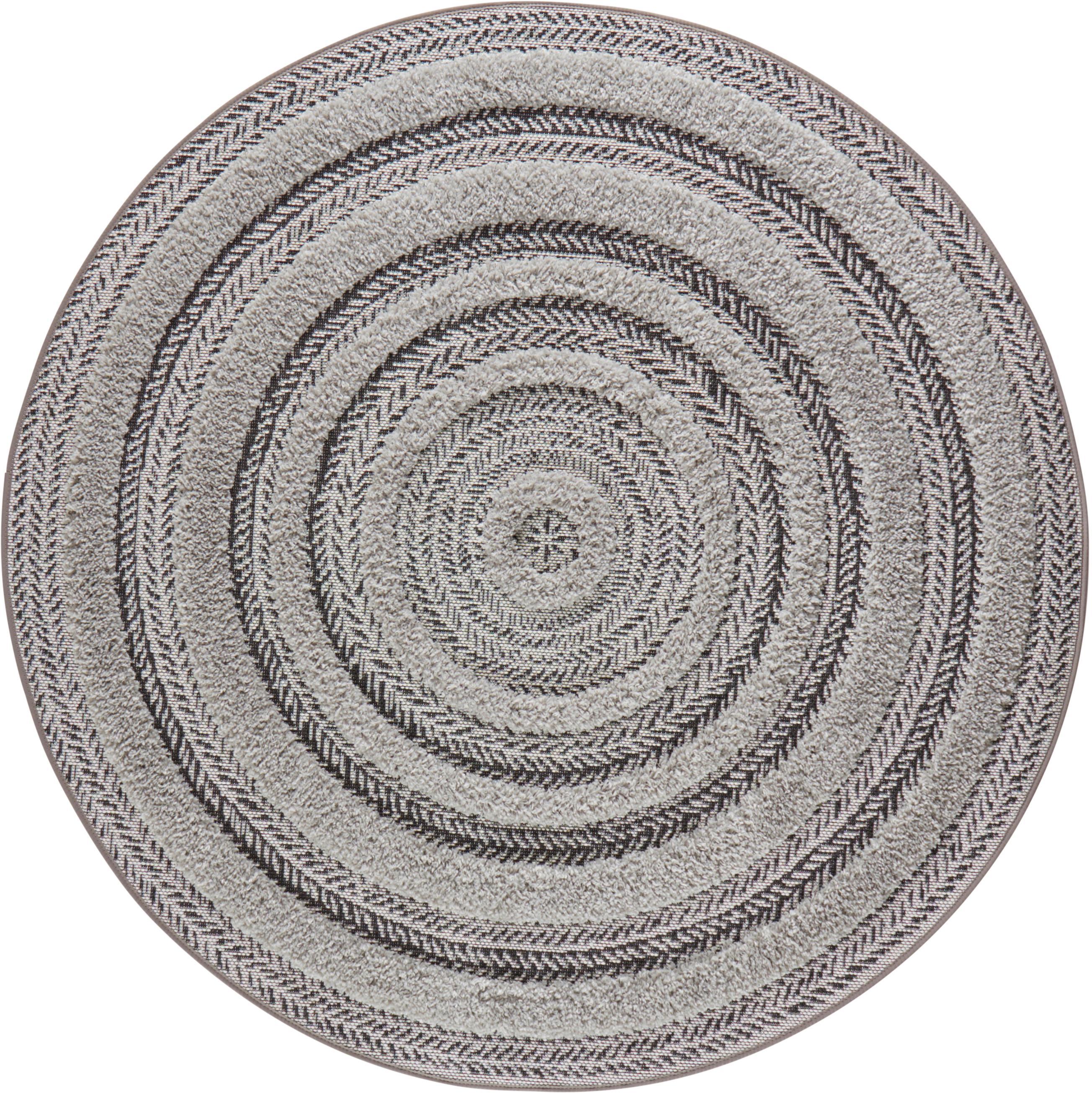Runder In- & Outdoor-Teppich Nador mit Hoch-Tief-Effekt, Anthrazit, Grau, Ø 160 cm (Grösse L)