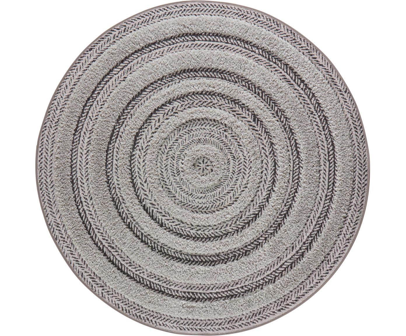 Rond vloerkleed Nador met hoog-laag patroon, Polypropyleen, Antraciet, grijs, Ø 160 cm