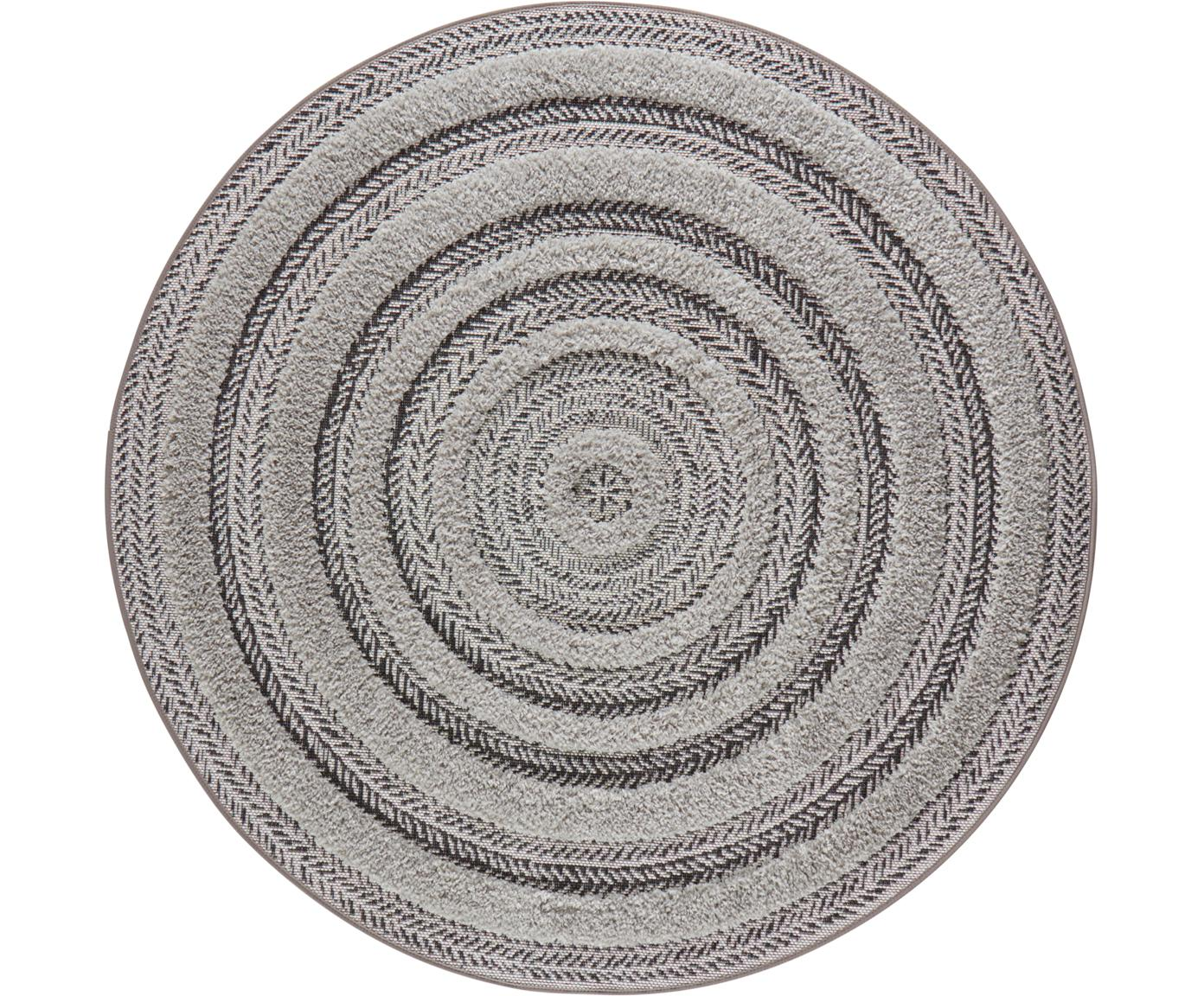Runder In- & Outdoor-Teppich Nador mit Hoch-Tief-Effekt, Anthrazit, Grau, Ø 160 cm (Größe L)