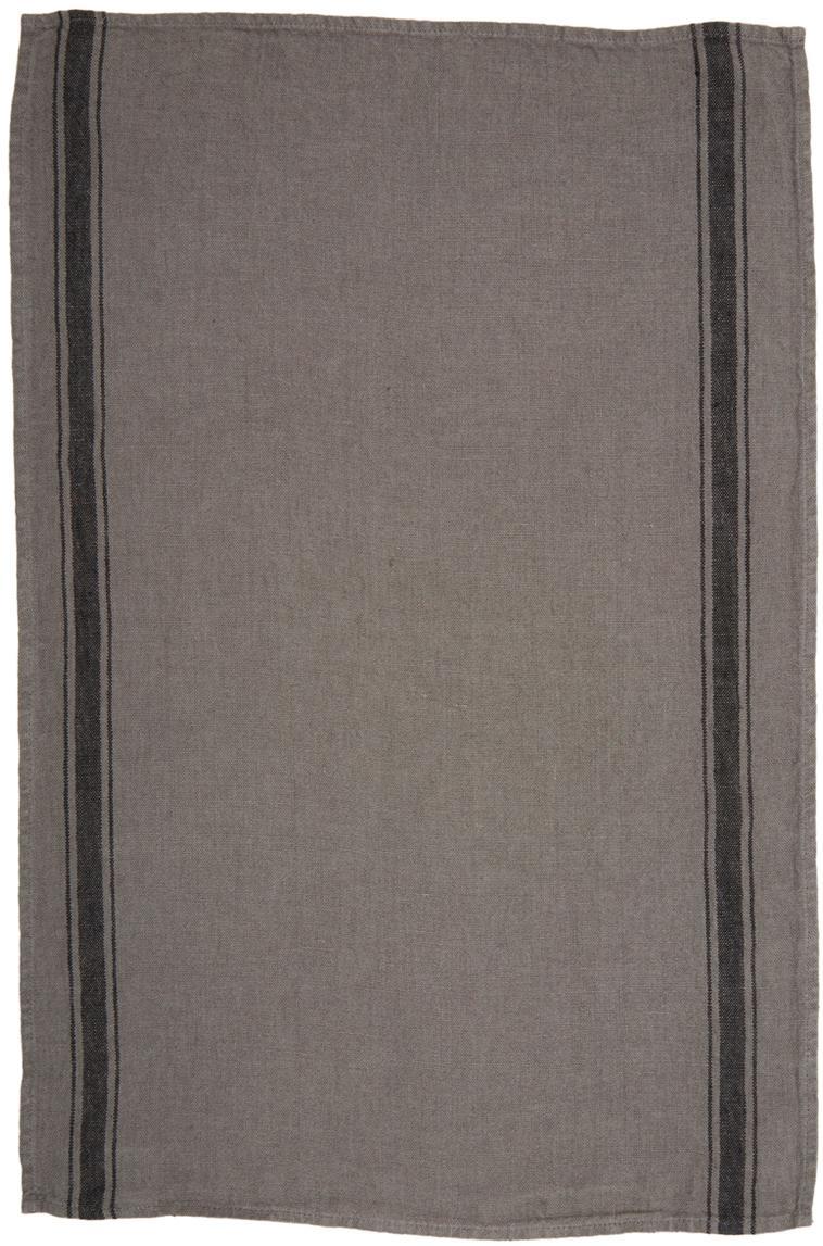 Leinen-Geschirrtuch Olbia, Leinen, Dunkelgrau, Schwarz, 46 x 70 cm