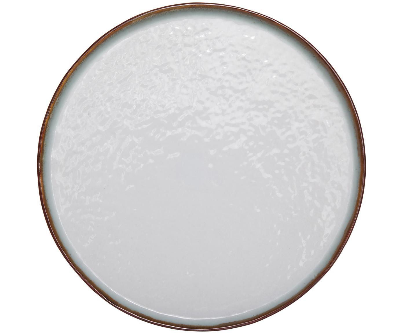 Platos llanos Plato, 4uds., Gres, Marrón, blanco, Ø 28 cm