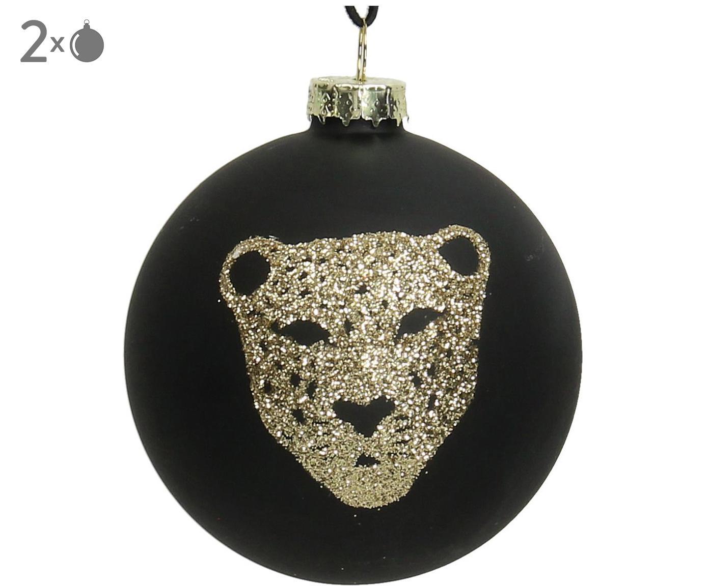 Weihnachtskugeln Tiger, 2 Stück, Schwarz, Goldfarben, Ø 8 cm
