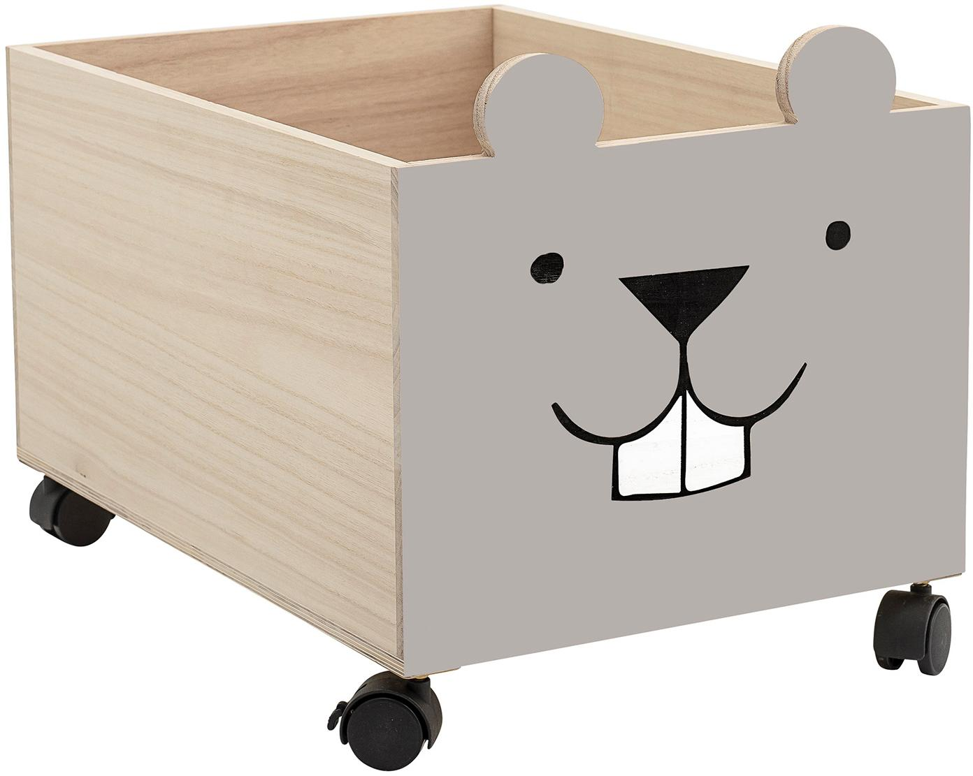 Pudełko do przechowywania Biber, Drewno paulownia, płyta pilśniowa średniej gęstości (MDF), Szary, jasny brązowy, S 35 x W 31 cm