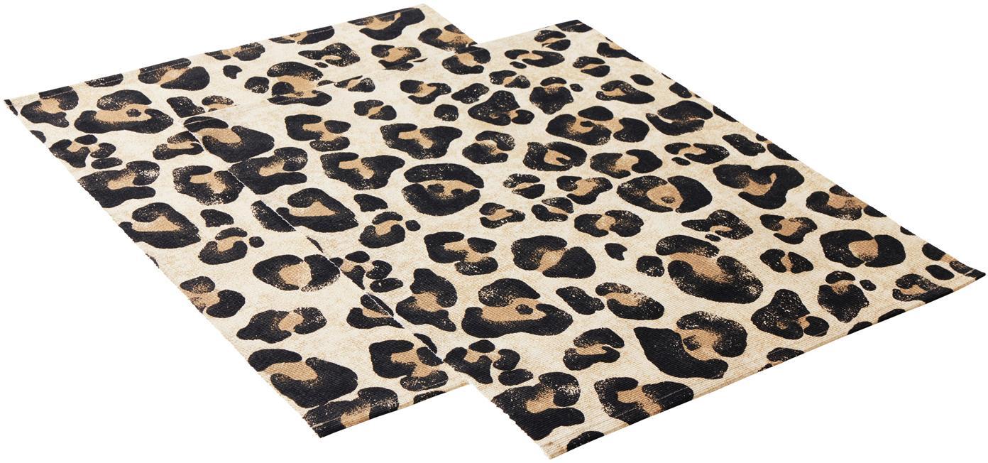 Manteles individuales Leo, 2uds., Algodón, Beige, negro, An 35 x L 45cm