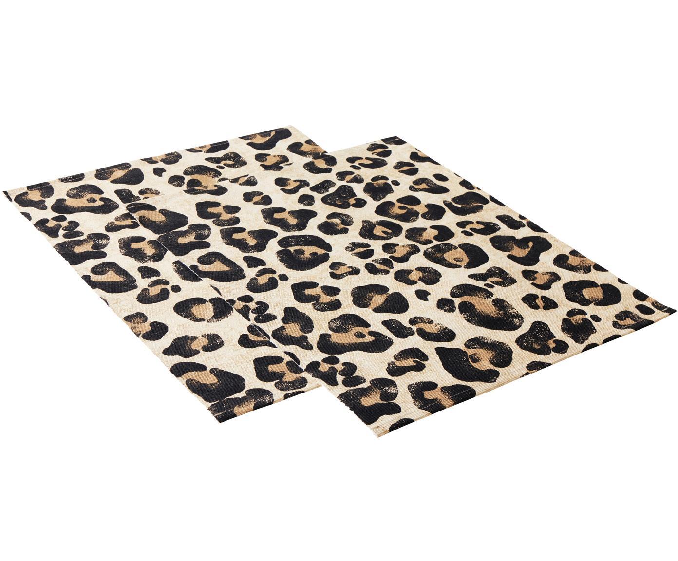 Tischsets Jill mit Leoparden-Print, 2 Stück, Baumwolle, Beige, Schwarz, 35 x 45 cm