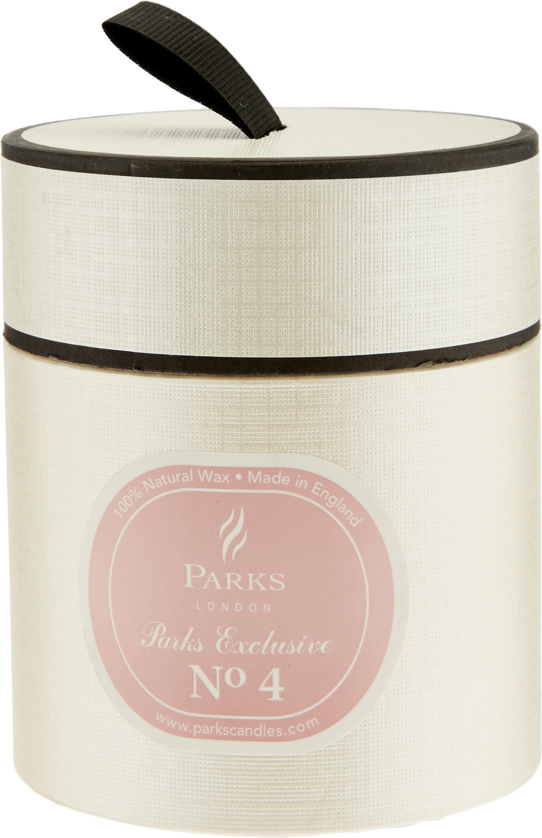 Geurkaars Exclusive No 4 (passiebloem & vanille), Houder: melkglas, Transparant, wit, zalmkleurig, Ø 8 x H 9 cm