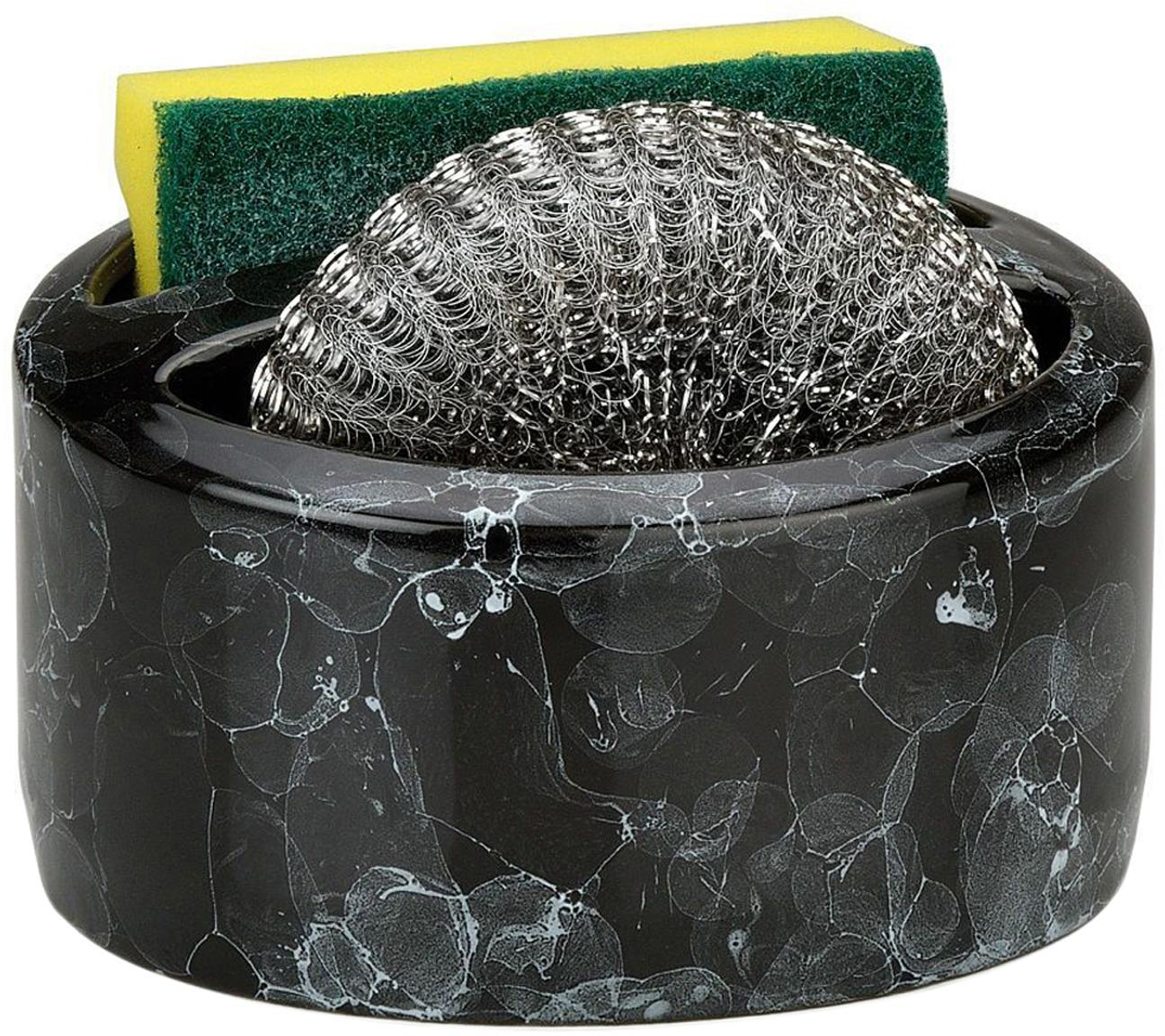 Sponshouder Bubble, 3-delig, Keramiek, Gemarmerd zwart, Ø 14 x H 11 cm