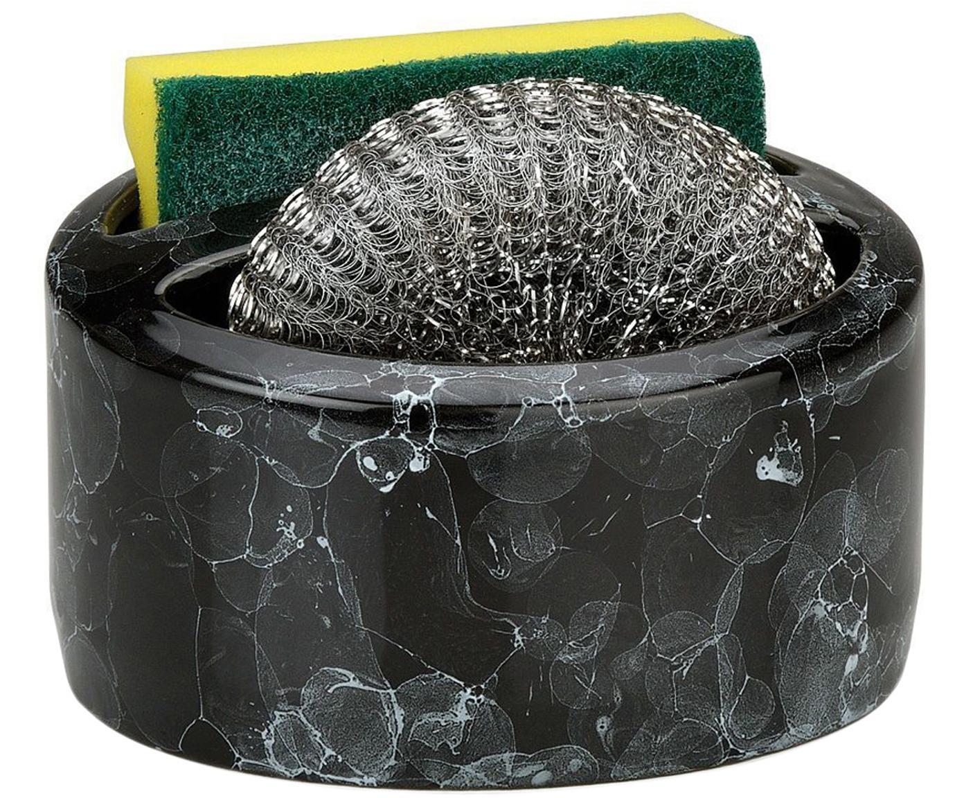 Uchwyt na gąbki z imitacji marmuru Bybble, 3 elem., Czarny, marmurowy, Ø 14 x W 11 cm