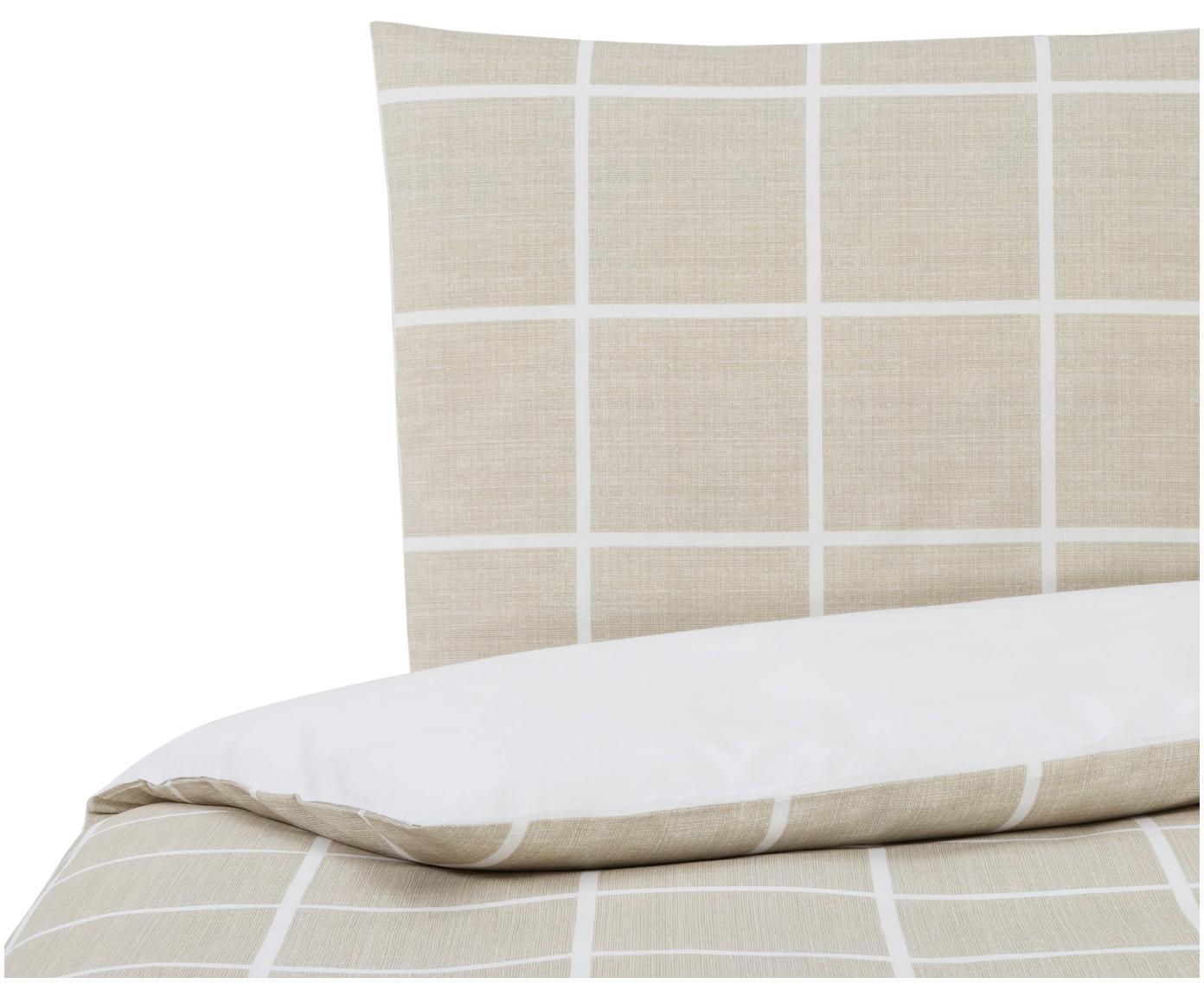 Dubbelzijdig dekbedovertrek Barte, Katoen, Bovenzijde: taupe, wit. Onderzijde: wit, 140 x 200 cm