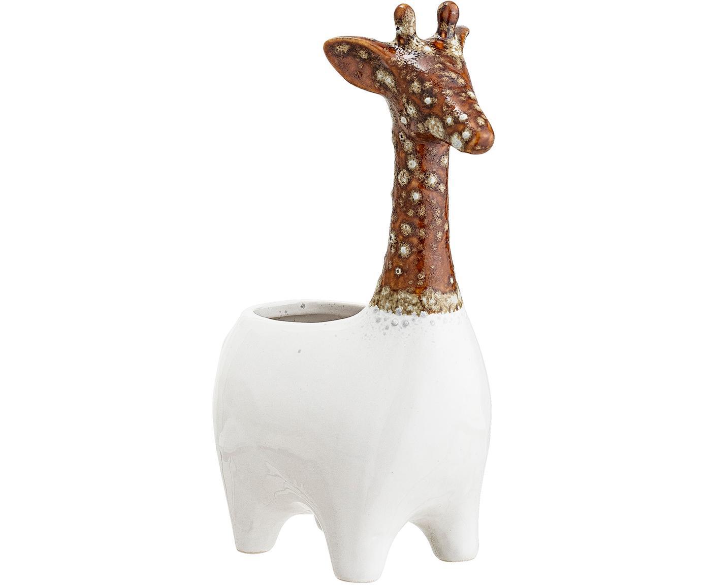 Handgefertigter Übertopf Giraffe, Steingut, Weiss, Braun, 17 x 25 cm