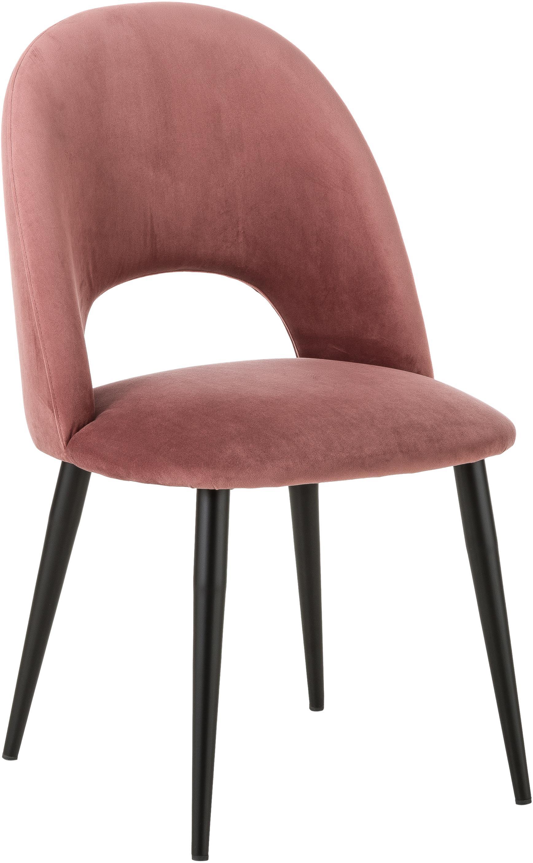 Sedia imbottita in velluto Rachel, Rivestimento: velluto (rivestimento in , Gambe: metallo verniciato a polv, Velluto rosa cipria, Larg. 53 x Prof. 57 cm