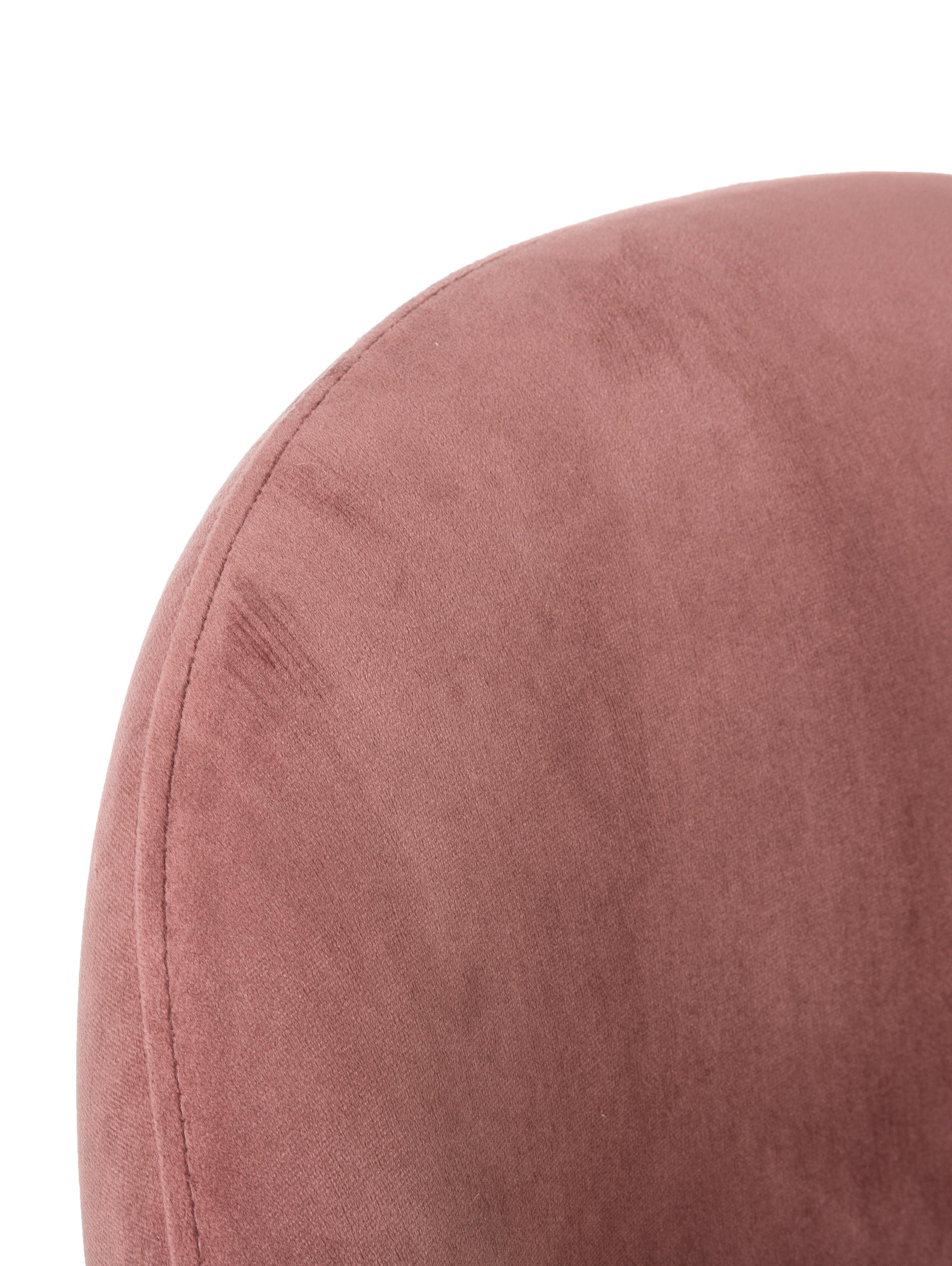 Samt-Polsterstuhl Rachel, Bezug: Samt (Hochwertiger Polyes, Beine: Metall, pulverbeschichtet, Samt Altrosa, B 53 x T 57 cm