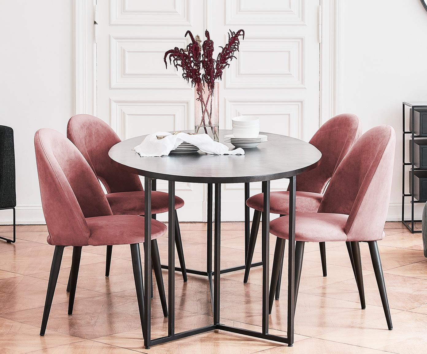 Fluwelen stoel Rachel, Bekleding: fluweel (hoogwaardige pol, Poten: gepoedercoat metaal, Roze-oranje, B 53 x D 57 cm