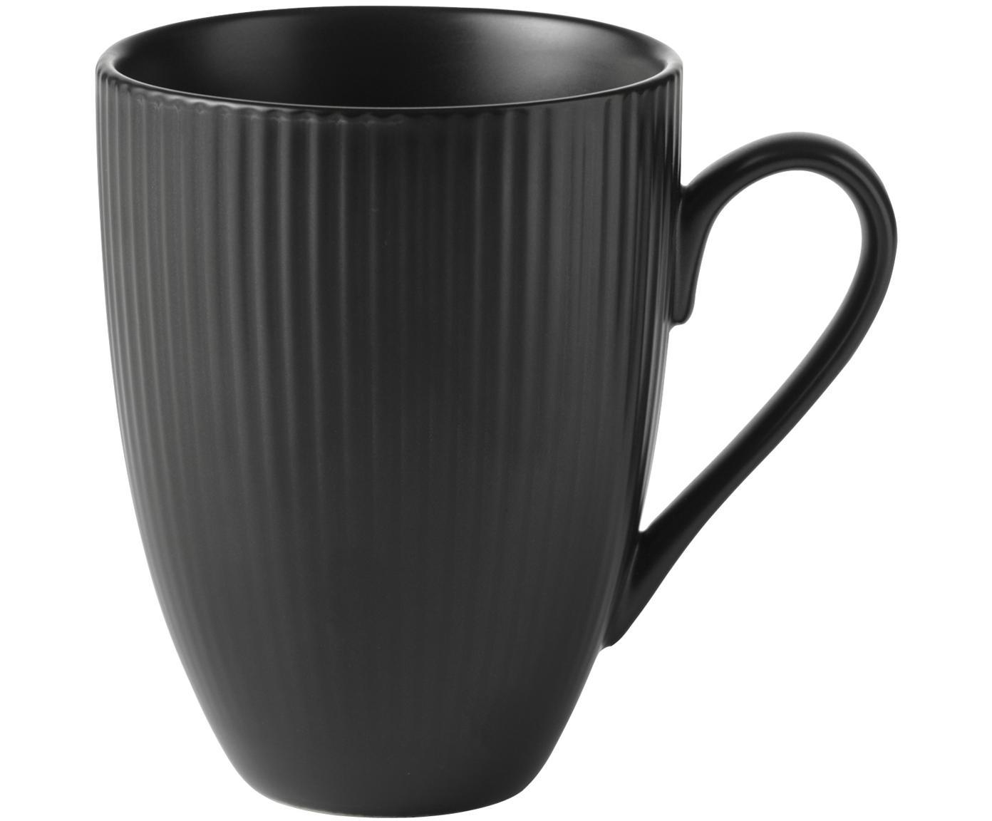Koffiekopjes Groove, 4 stuks, Porselein, Zwart, Ø 9 x H 11 cm