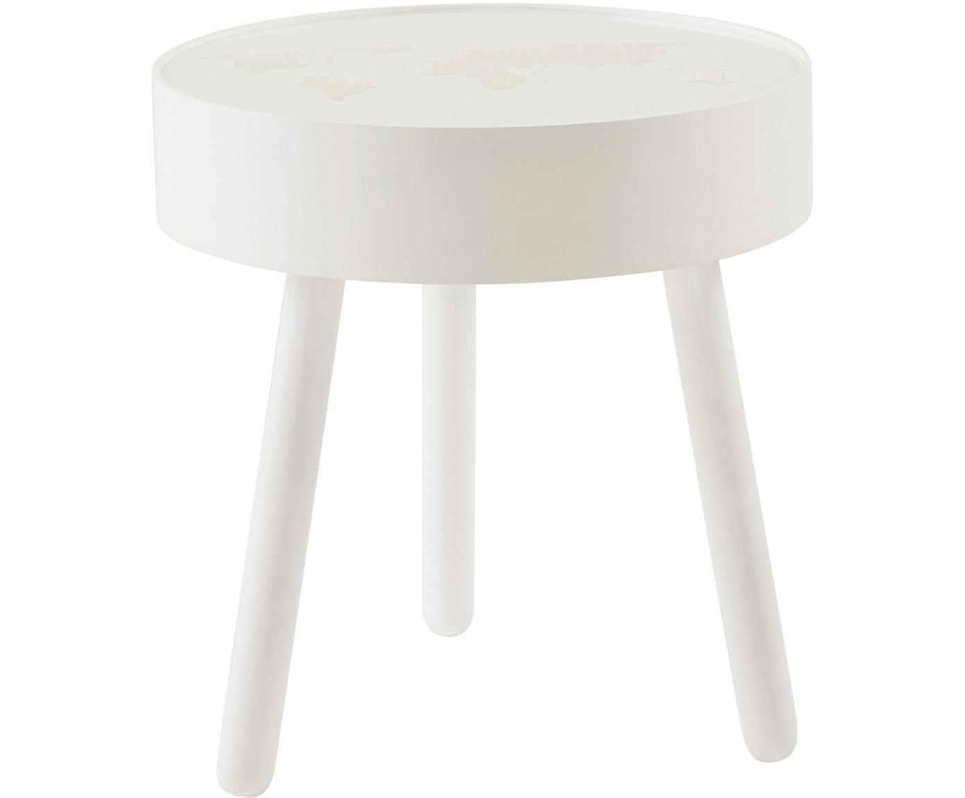 Tavolino a LED Monroy, Struttura: legno, Piano d'appoggio: vetro acrilico, Bianco, Ø 40 x Alt. 42 cm