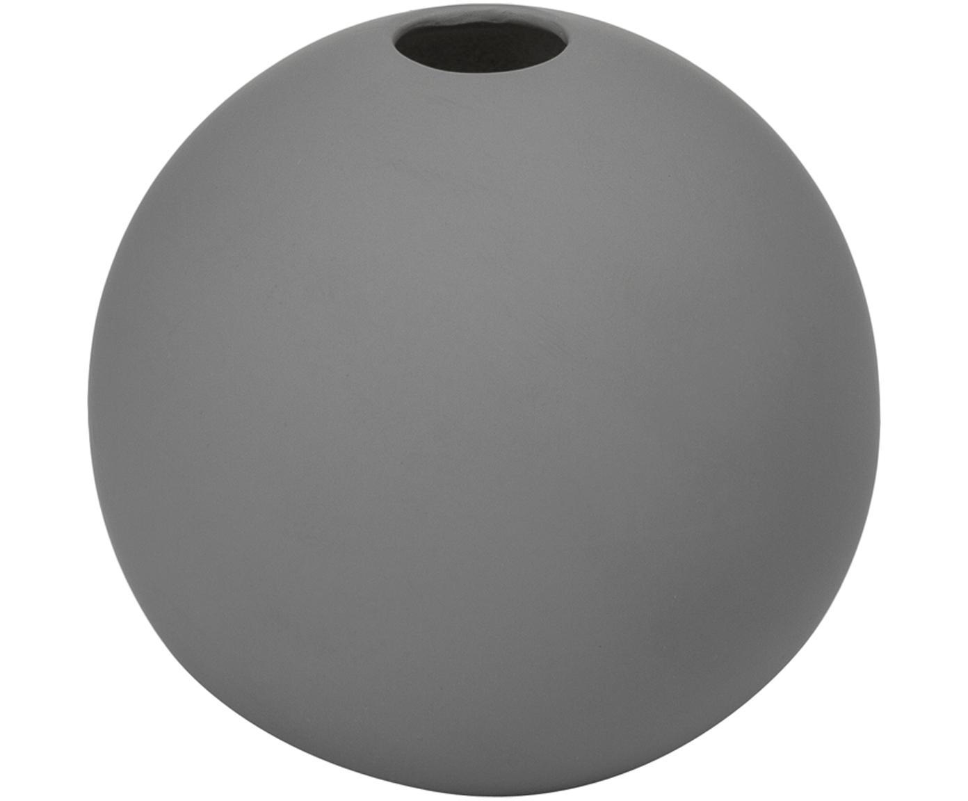 Jarrón artesanal Ball, Cerámica, Gris, Ø 8 x Al 8 cm