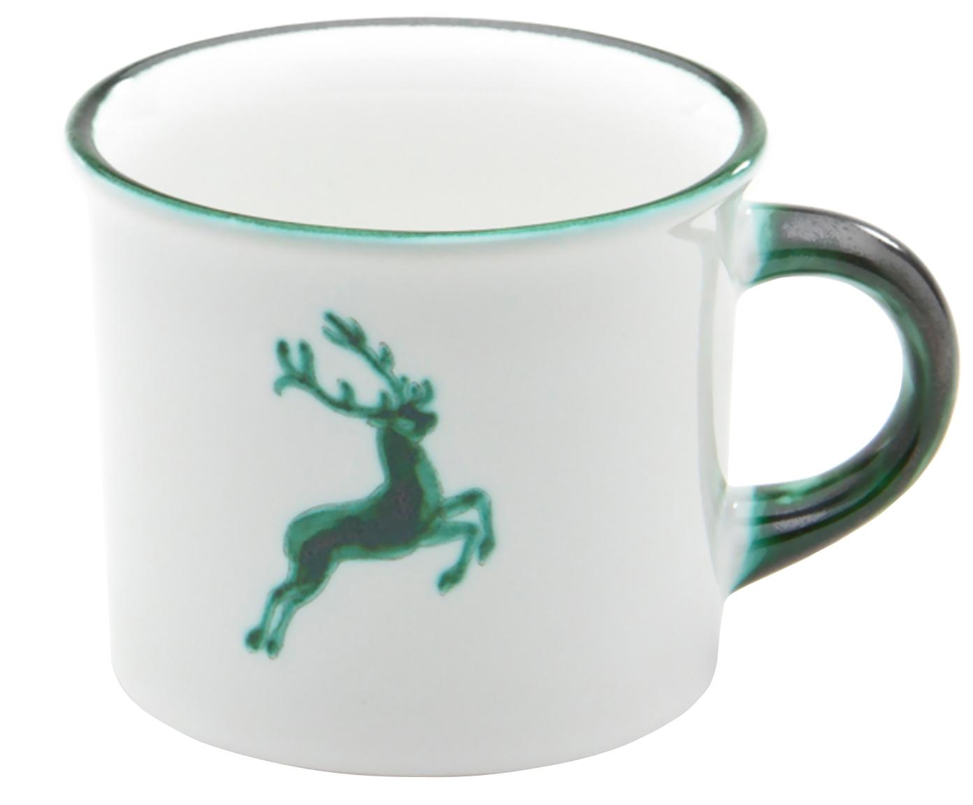 Tazza da te dipinta a mano Grüner Hirsch, Ceramica, Verde, bianco, 240 ml