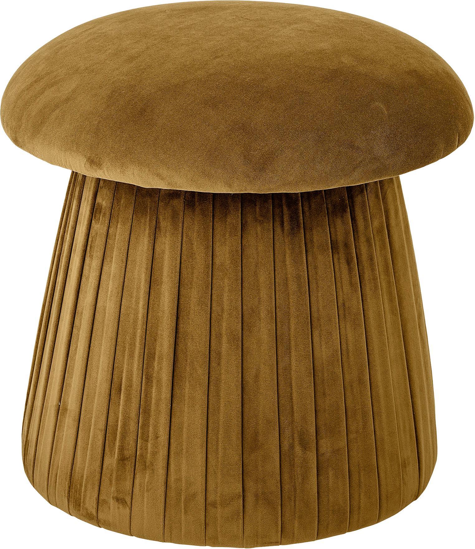 Puf de terciopelo Roberta, Tapizado: terciopelo de poliéster 4, Estructura: tablero de fibras de dens, Marrón, Ø 44 x Al 45 cm