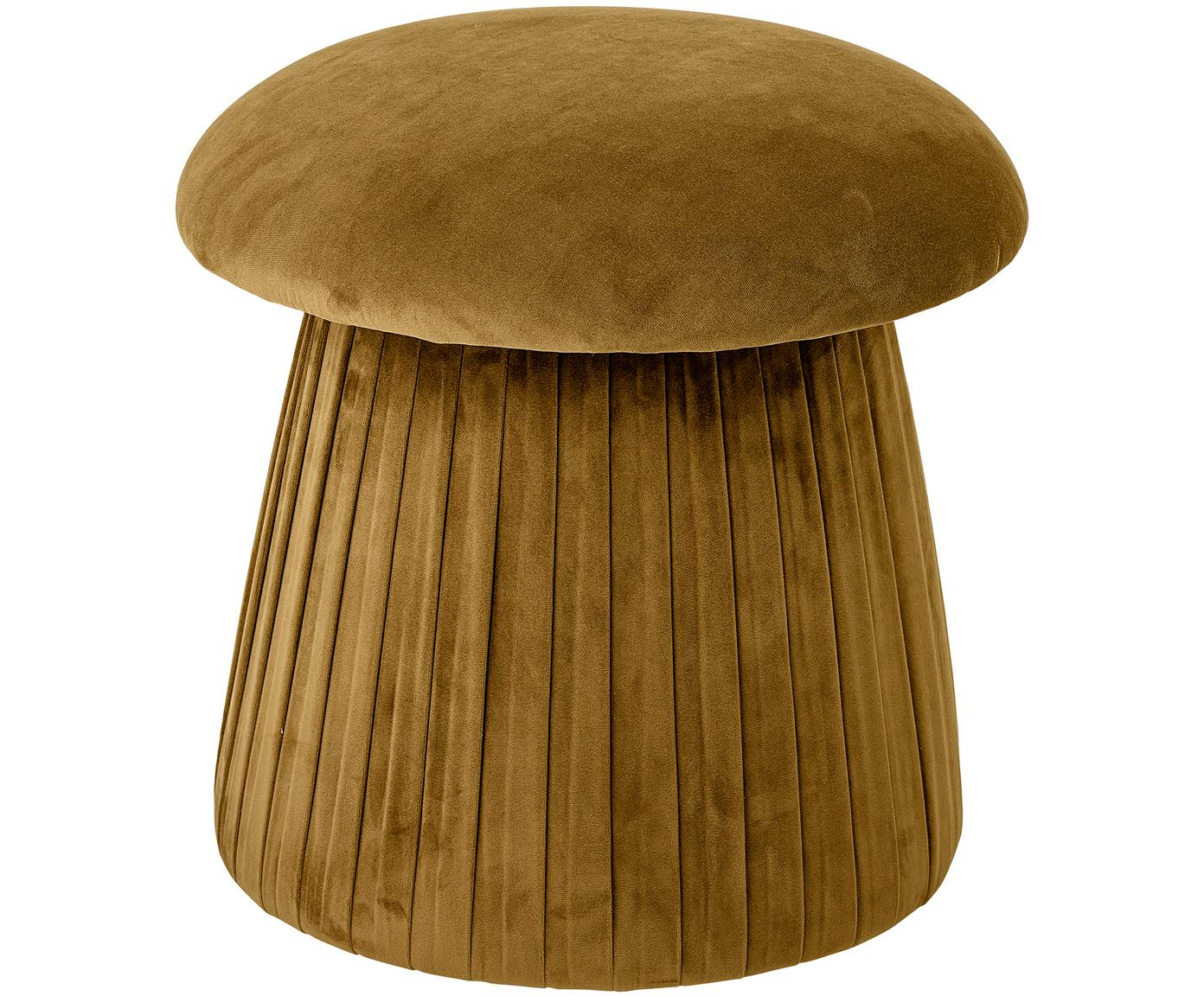 Samt-Pouf Roberta, Bezug: Polyestersamt 40.000 Sche, Gestell: Mitteldichte Holzfaserpla, Braun, Ø 44 x H 45 cm