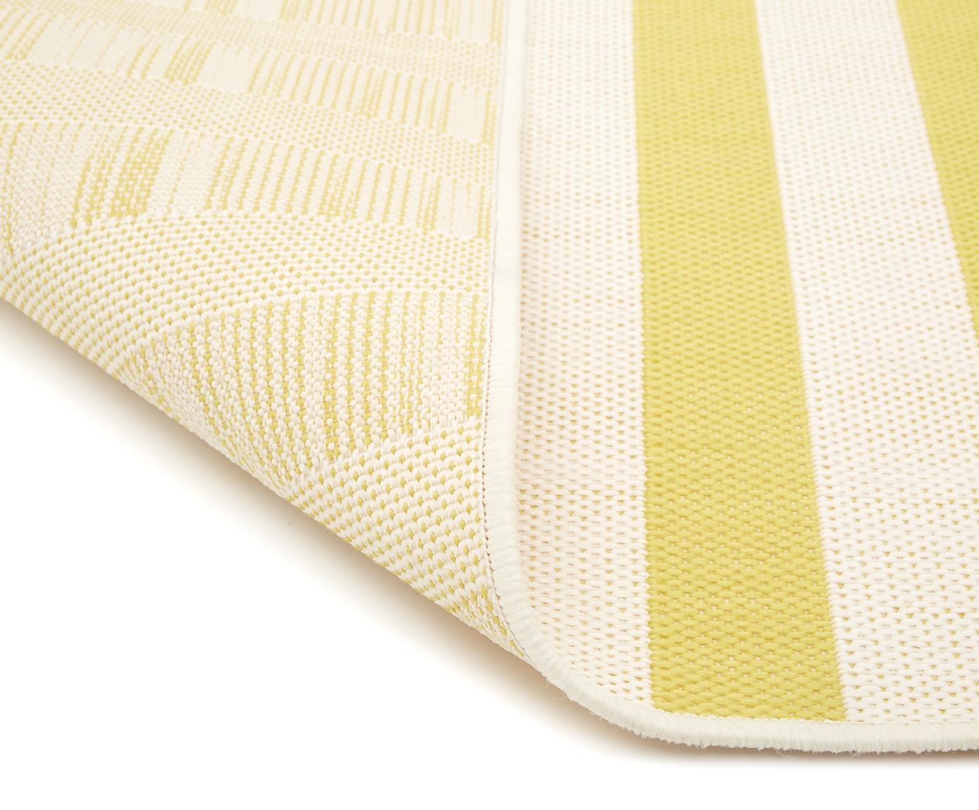Gestreept in- & outdoor vloerkleed Axa in geel/wit, Bovenzijde: polypropyleen, Onderzijde: polyester, Crèmewit, geel, B 200 x L 290 cm (maat L)