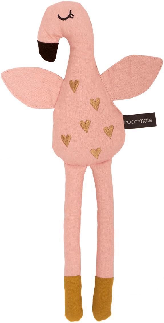 Przytulanka z bawełny organicznej Flamingo, Blady różowy, odcienie złotego, S 8 x W 30 cm