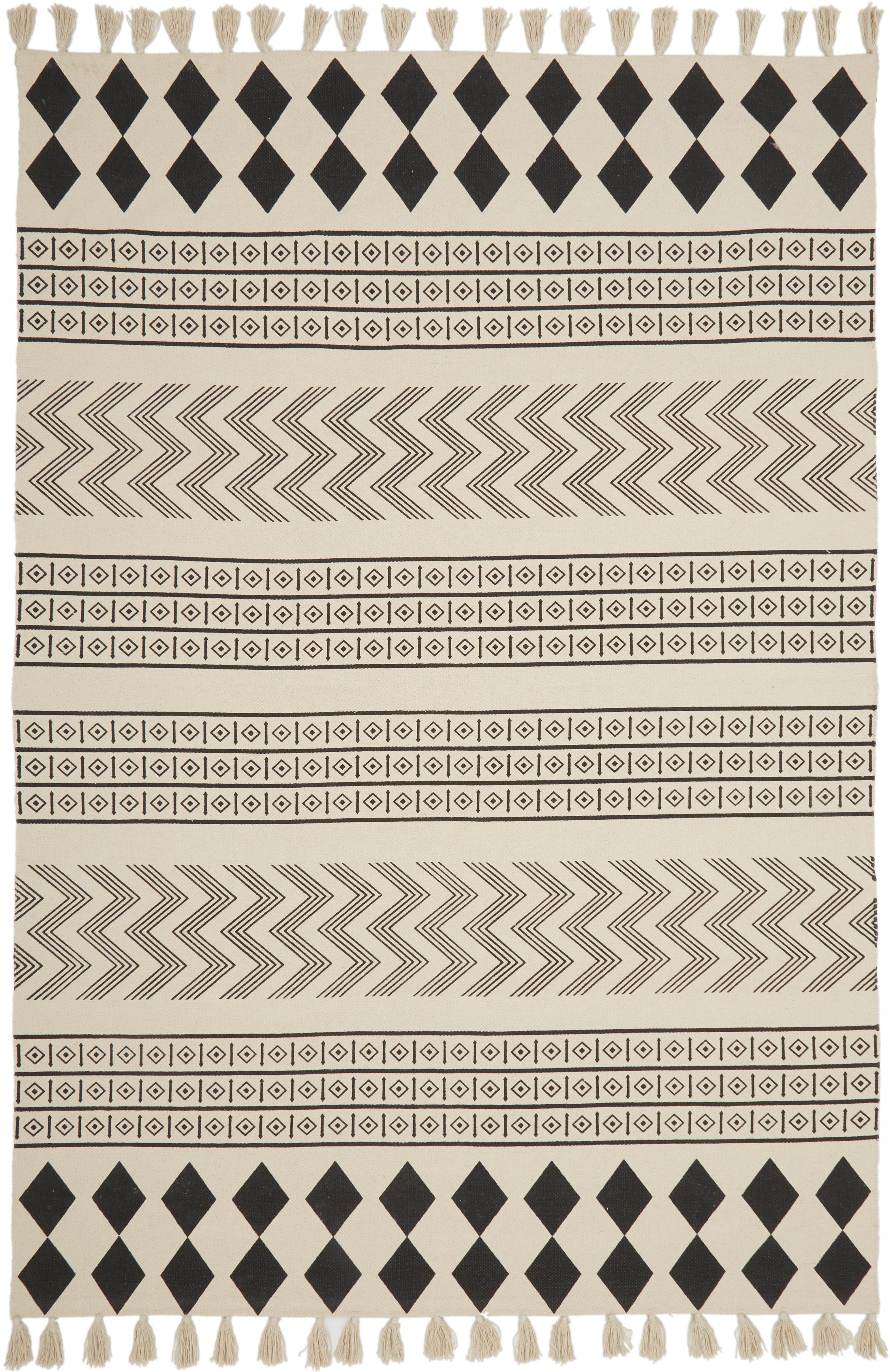 Handgewebter Baumwollteppich Edna im Ethno Style, 100% Baumwolle, Cremeweiß, Schwarz, B 160 x L 230 cm (Größe M)