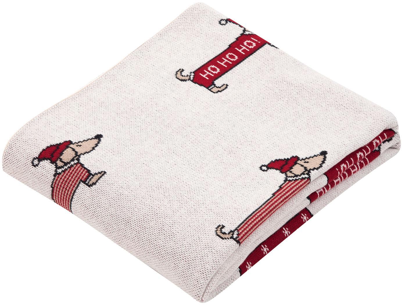 Plaid natalizio con bassotti Santas Little Helper, 100% cotone, Fronte: multicolore retro: rosso, Larg. 150 x Lung. 200 cm