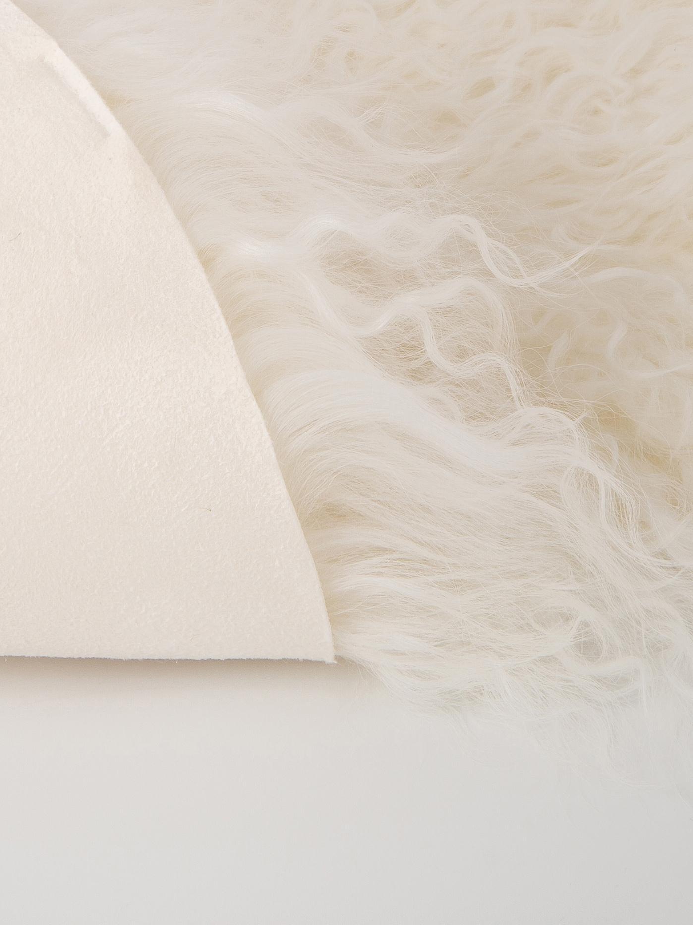 Pelliccia d'agnello a pelo lungo Ella, Retro: 100% pelle, Bianco, Larg. 50 x Lung. 80 cm
