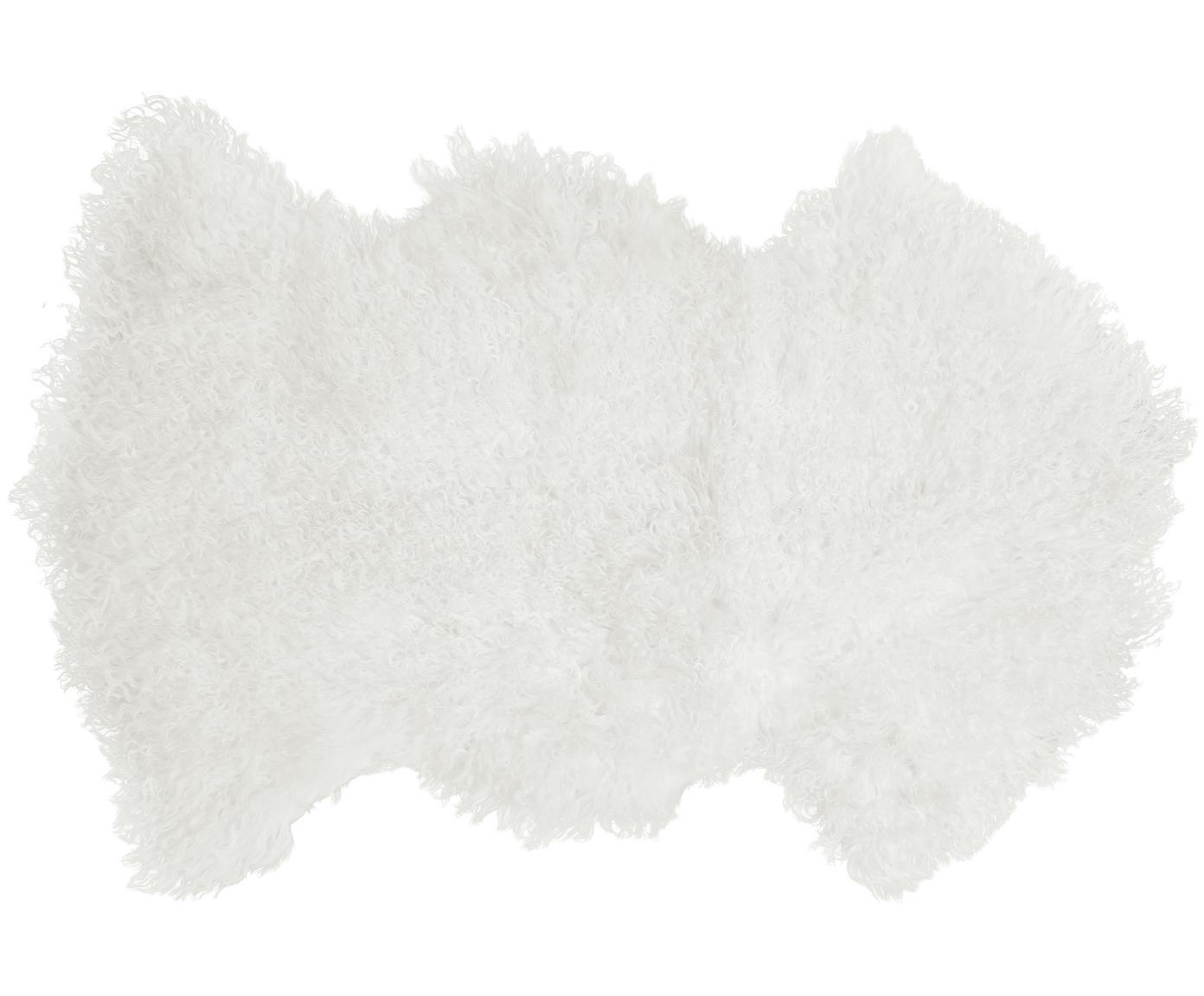 Langharige schapenvacht Ella, Bovenzijde: 100% Mongoolse schapenvac, Onderzijde: 100% leer, Wit, 50 x 90 cm