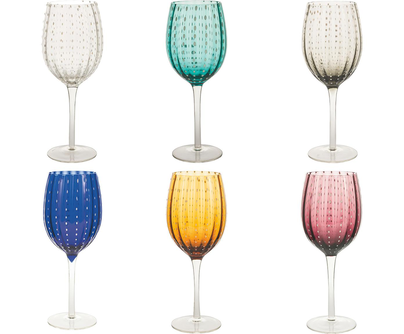 Copas de vino de colores Shiraz, 6uds., Vidrio, Multicolor, Ø 7x Al 23 cm