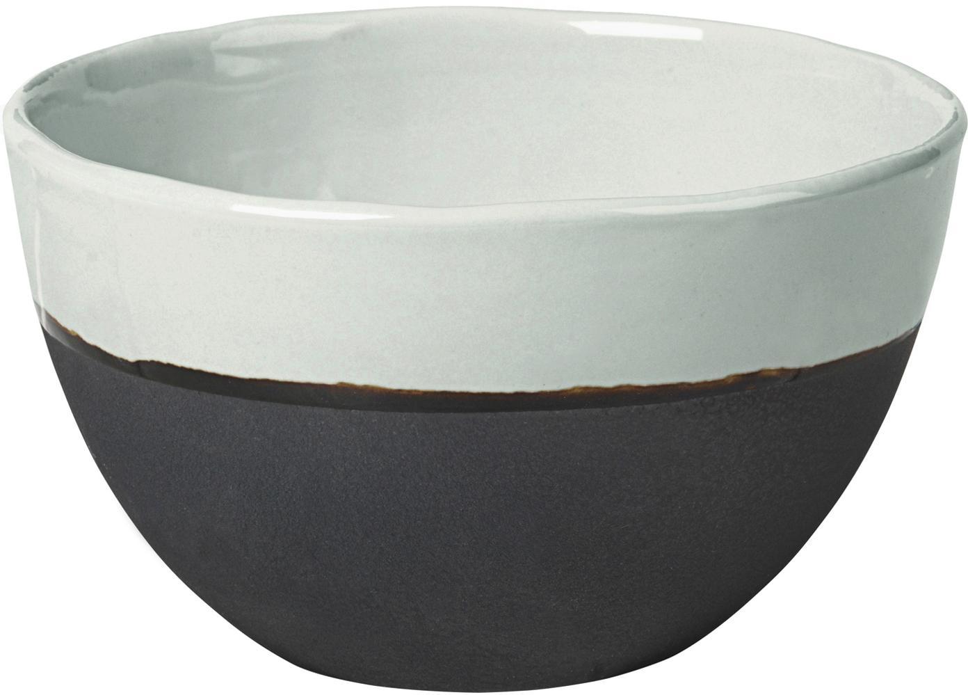 Handgemaakte kommen Esrum mat/glanzend, 4 stuks, Bovenzijde: glad geglazuurde keramiek, Onderzijde: natuurlijke keramiek, Ivoorkleurig, grijsbruin, Ø 14 x H 9 cm