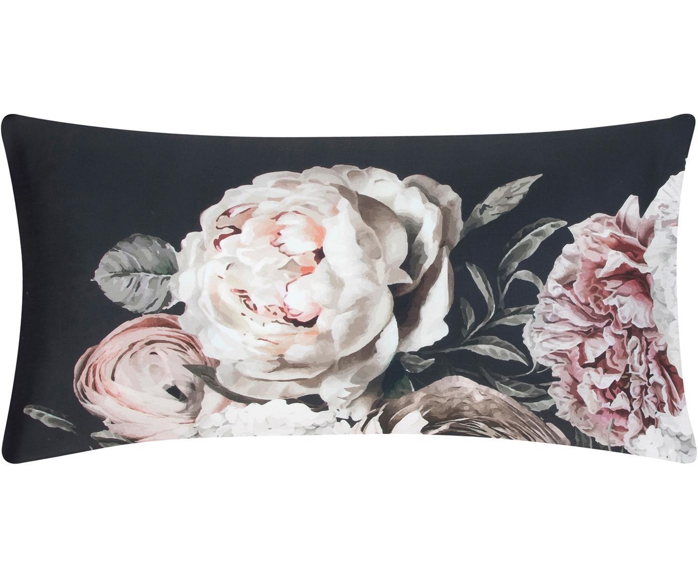 Baumwollsatin-Kissenbezüge Blossom mit Blumen-Print, 2 Stück, Webart: Satin Fadendichte 210 TC,, Mehrfarbig, Schwarz, 40 x 80 cm