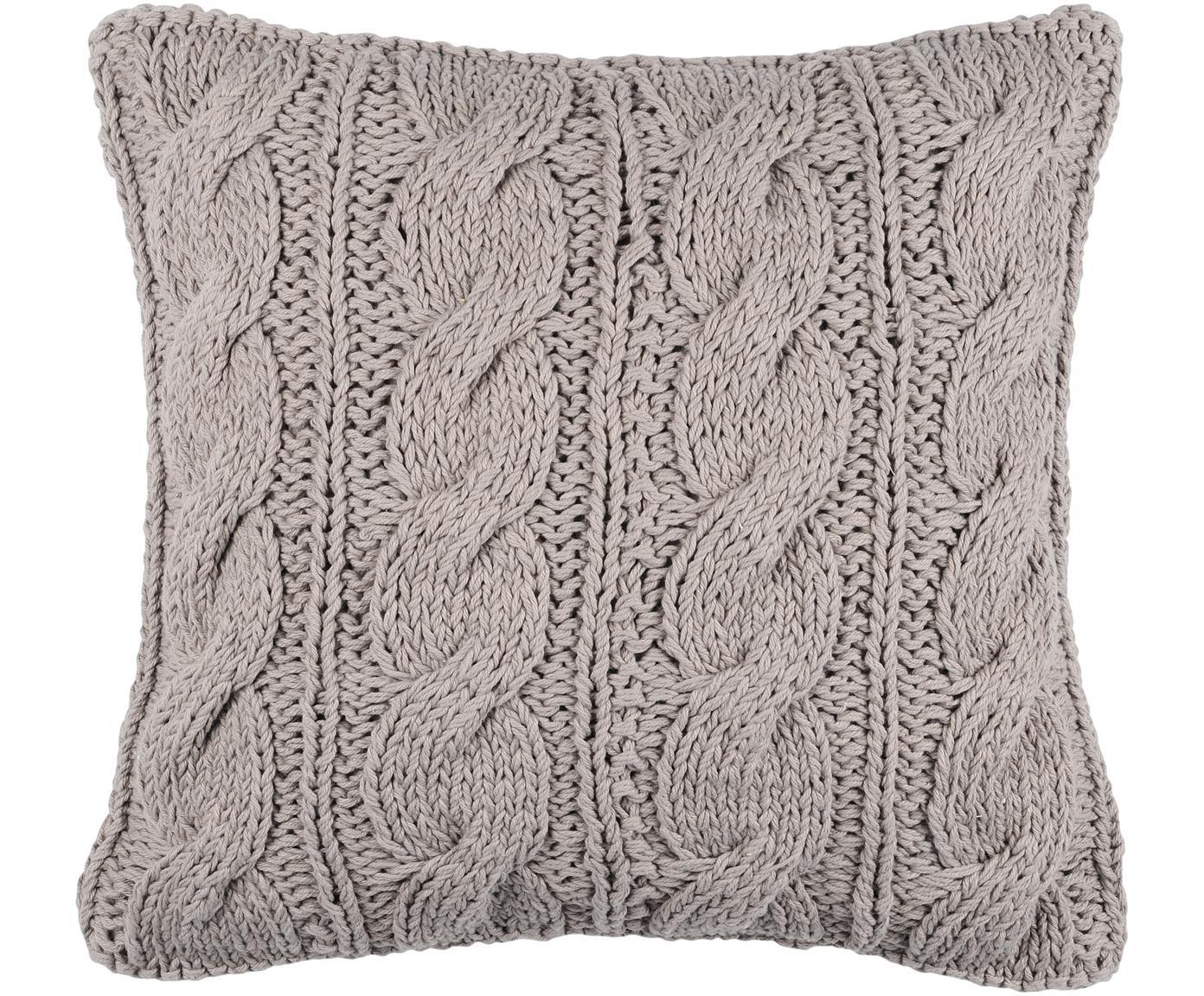 Strickkissen Stitch mit Zopfmuster, mit Inlett, Bezug: Baumwolle, Grau, 40 x 40 cm