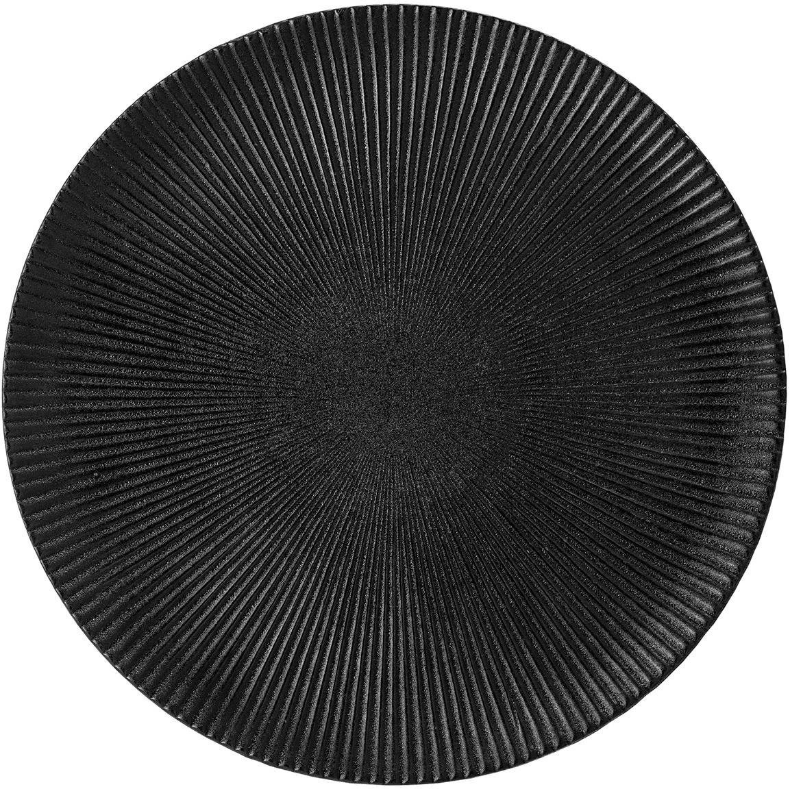Dinerbord Neri met groefstructuur in mat zwart, Keramiek, Zwart, Ø 29 cm