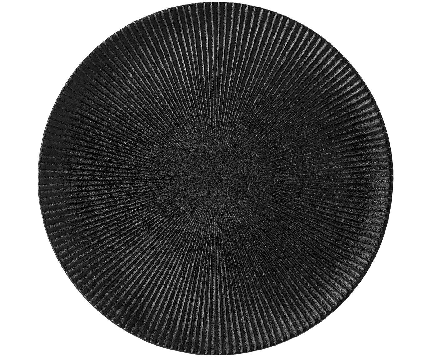 Talerz duży Neri, Kamionka Ze strukturą rówków i lekko szorstką powierzchnią, Czarny, Ø 29 cm