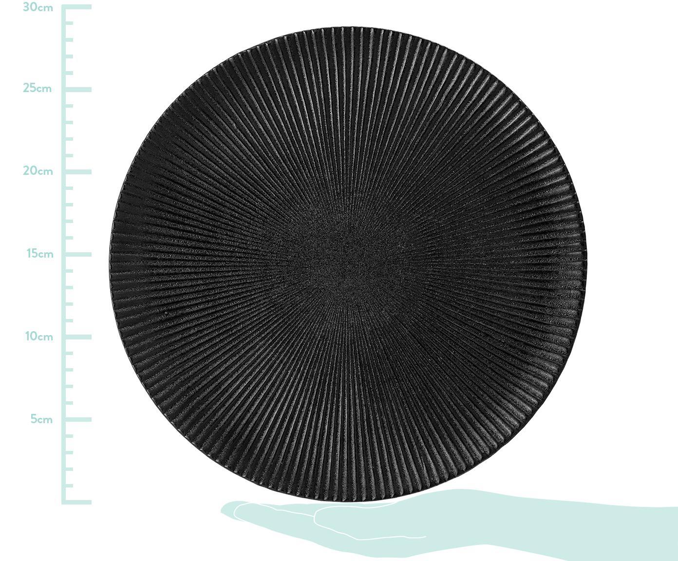 Speiseteller Neri mit Rillenstruktur in Schwarz matt, Steingut Mit Rillenstruktur und leicht rauer Oberfläche, Schwarz, Ø 29 cm