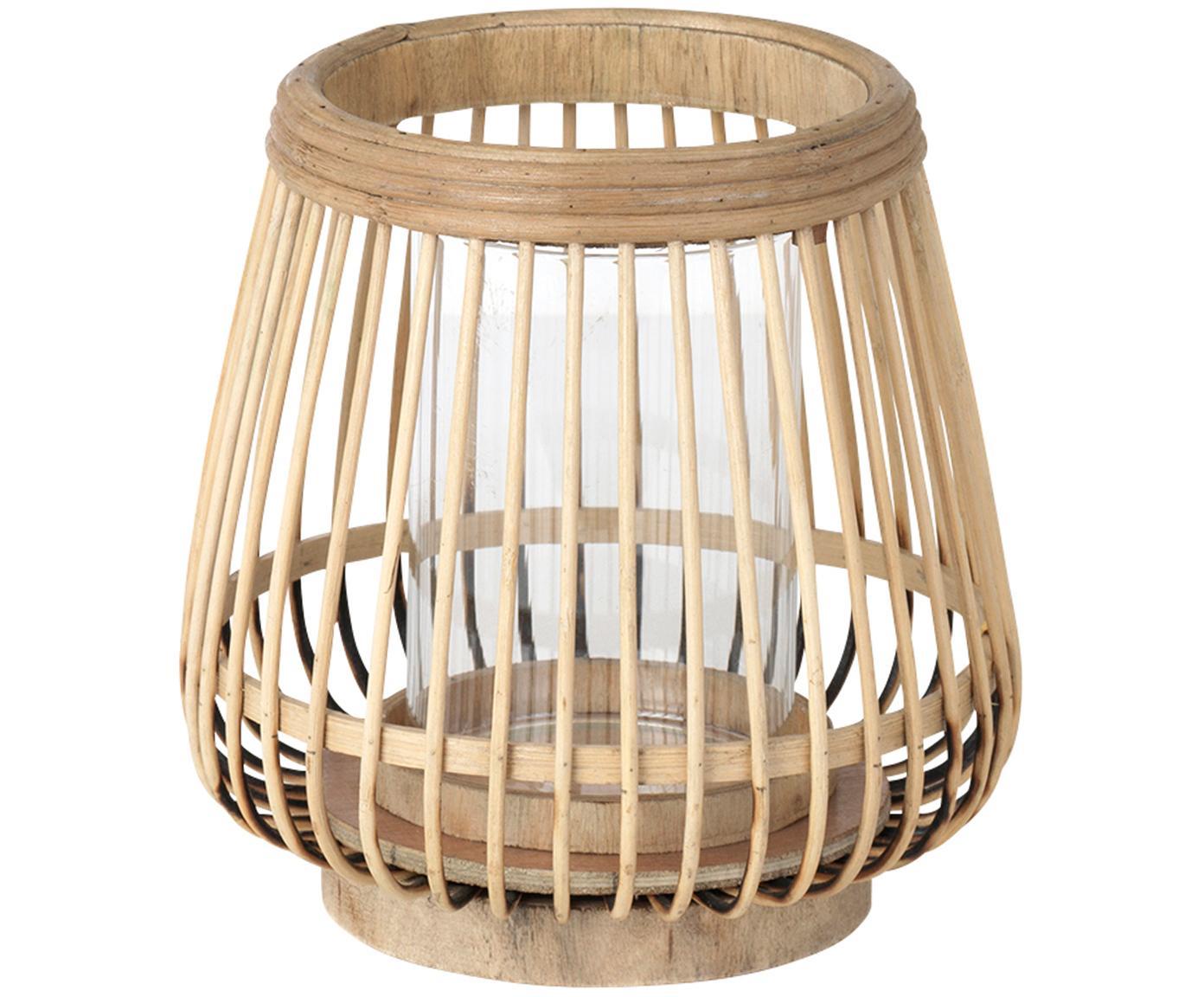 Portacandela Caits, Portacandela: legno di bambù, Portacandela: marrone chiaro Cilindro: trasparente, Ø 21 x Alt. 22 cm