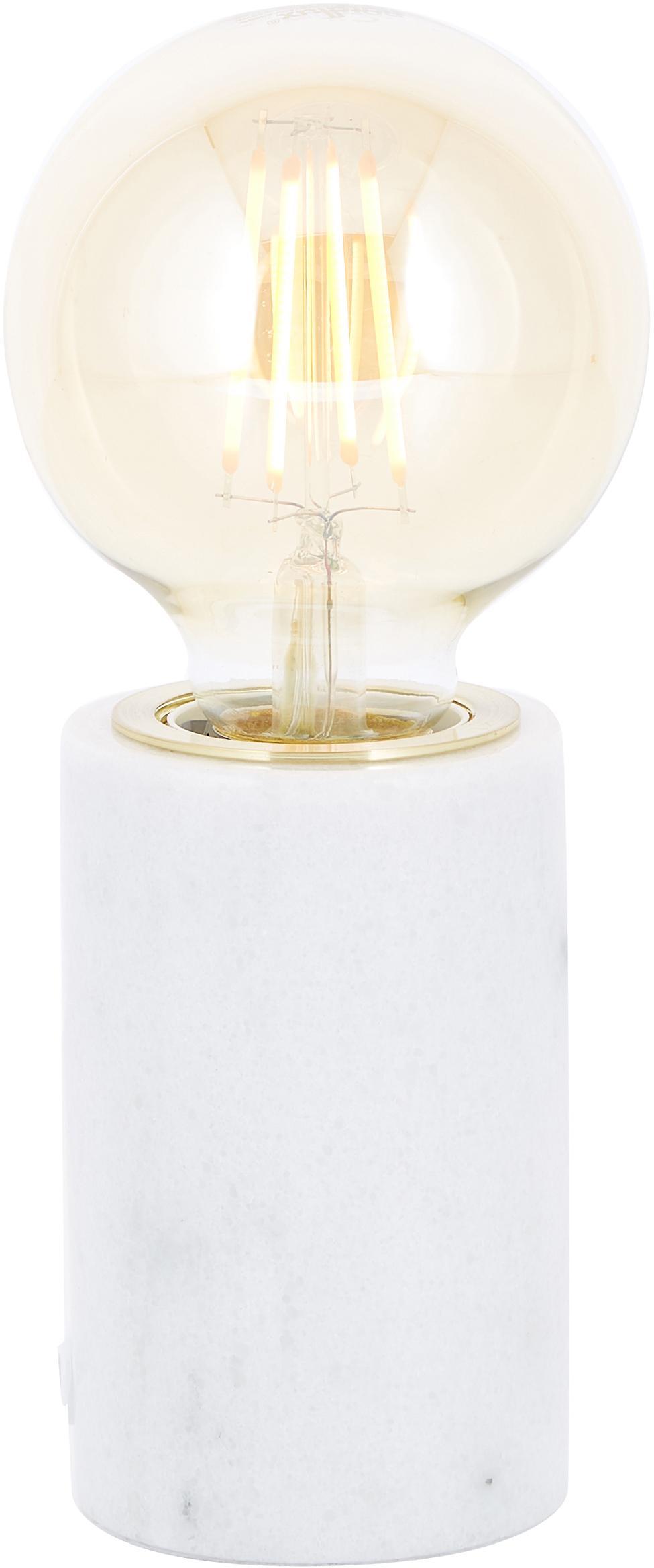 Kleine Marmor-Tischlampe Siv, Weiss, Ø 6 x H 10 cm