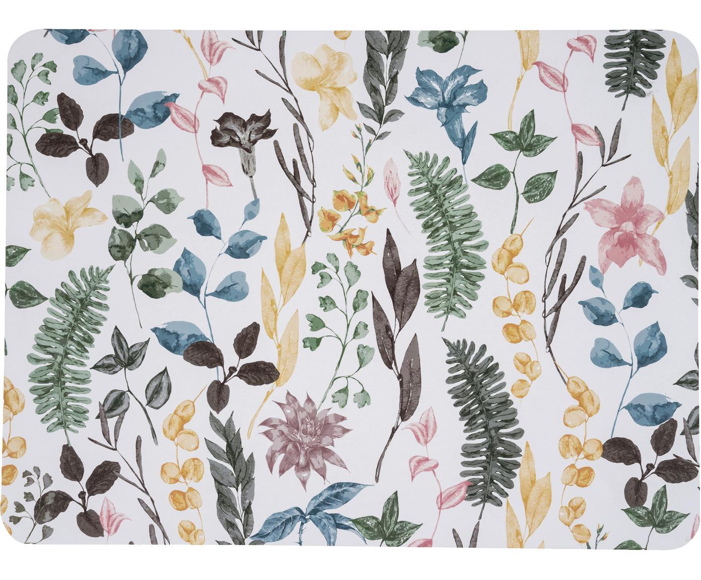 Placemats Summerfield, 2 stuks, MDF, kurk, Wit, multicolour, B 40 x D 30 cm