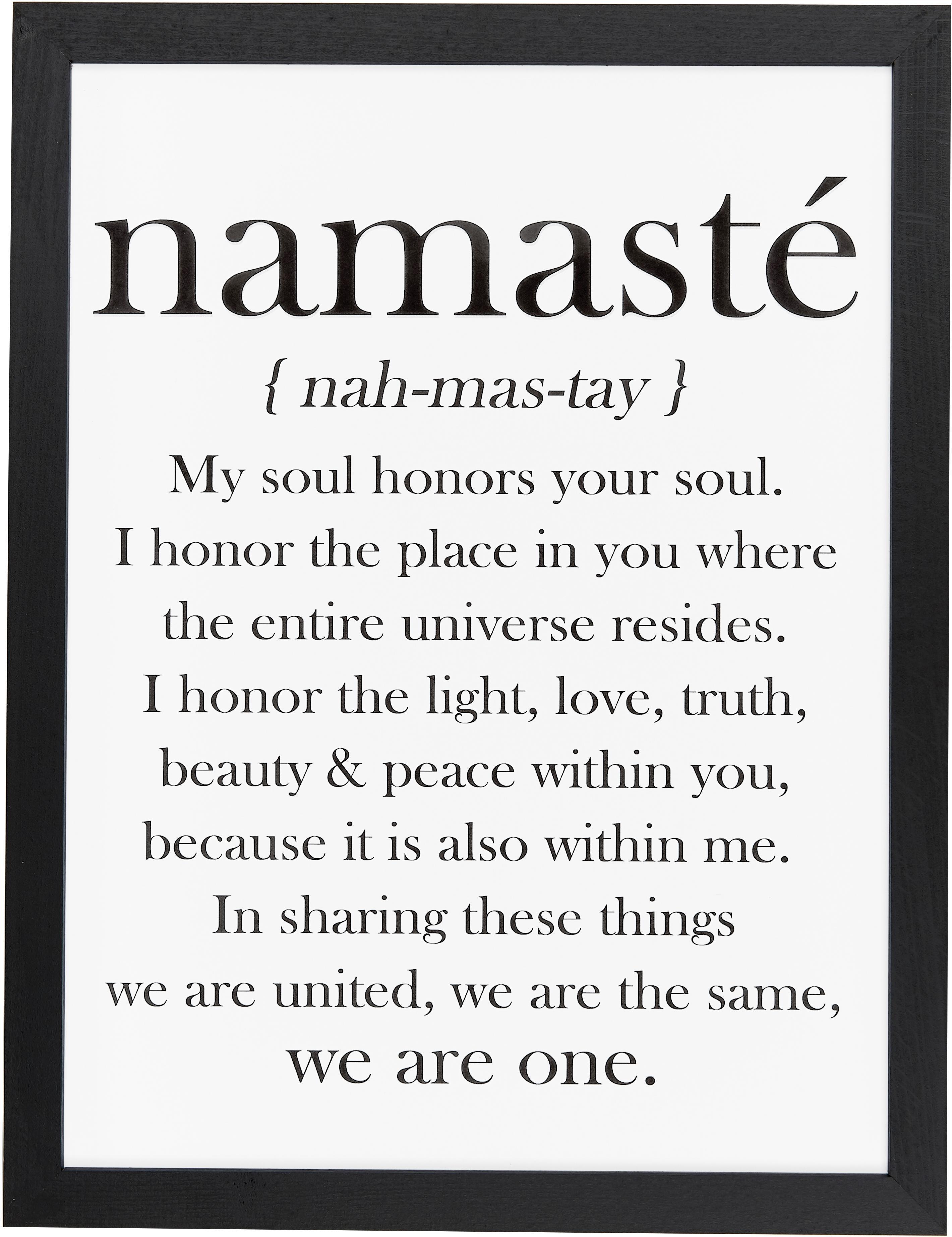 Oprawiony druk cyfrowy Namasté, Obraz: czarny, biały rama: czarny, S 33 x W 43 cm