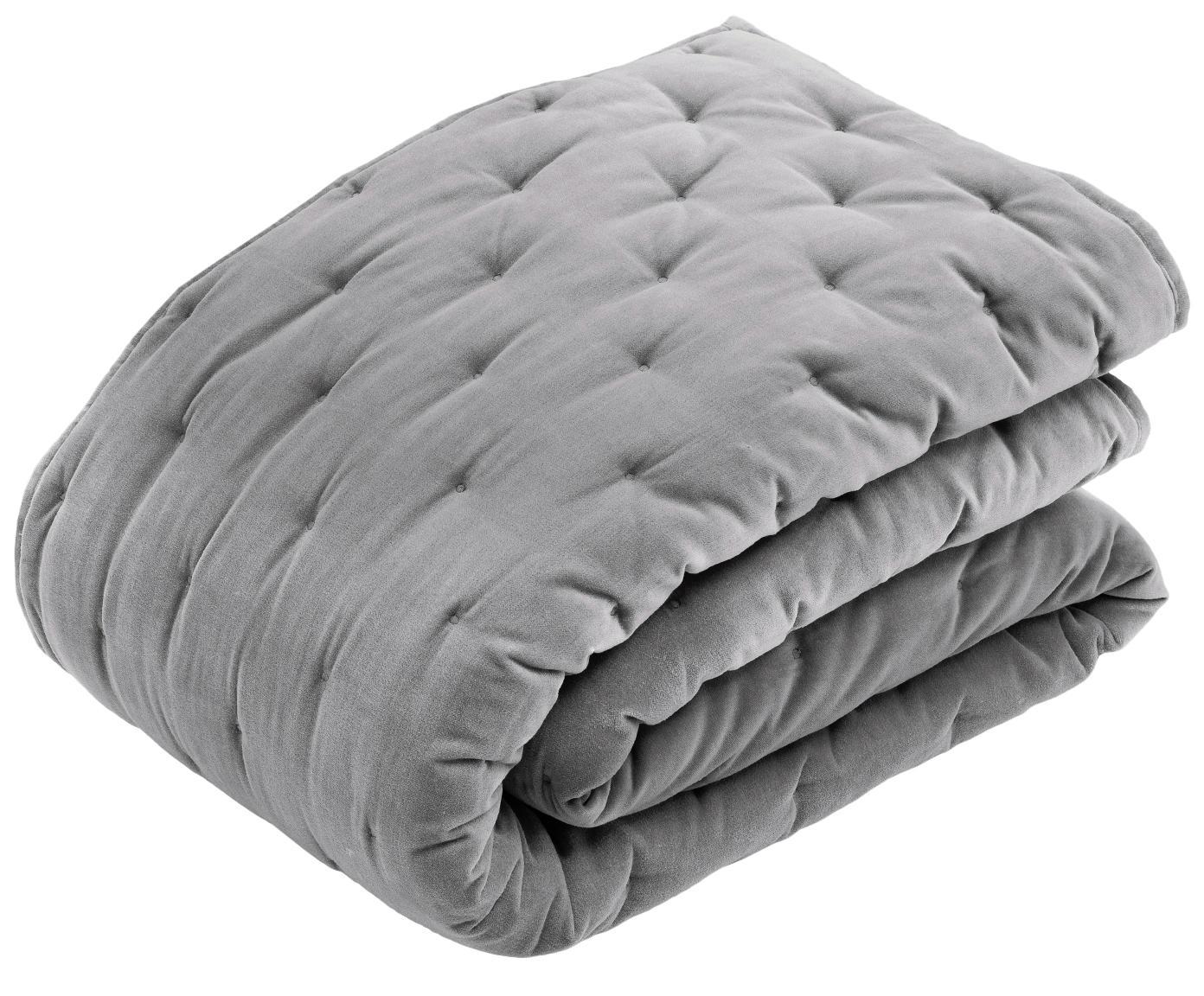 Colcha de terciopelo acolchada Cheryl, Parte superior: terciopelo de algodón, Reverso: algodón, Gris, An 160 x L 220 cm