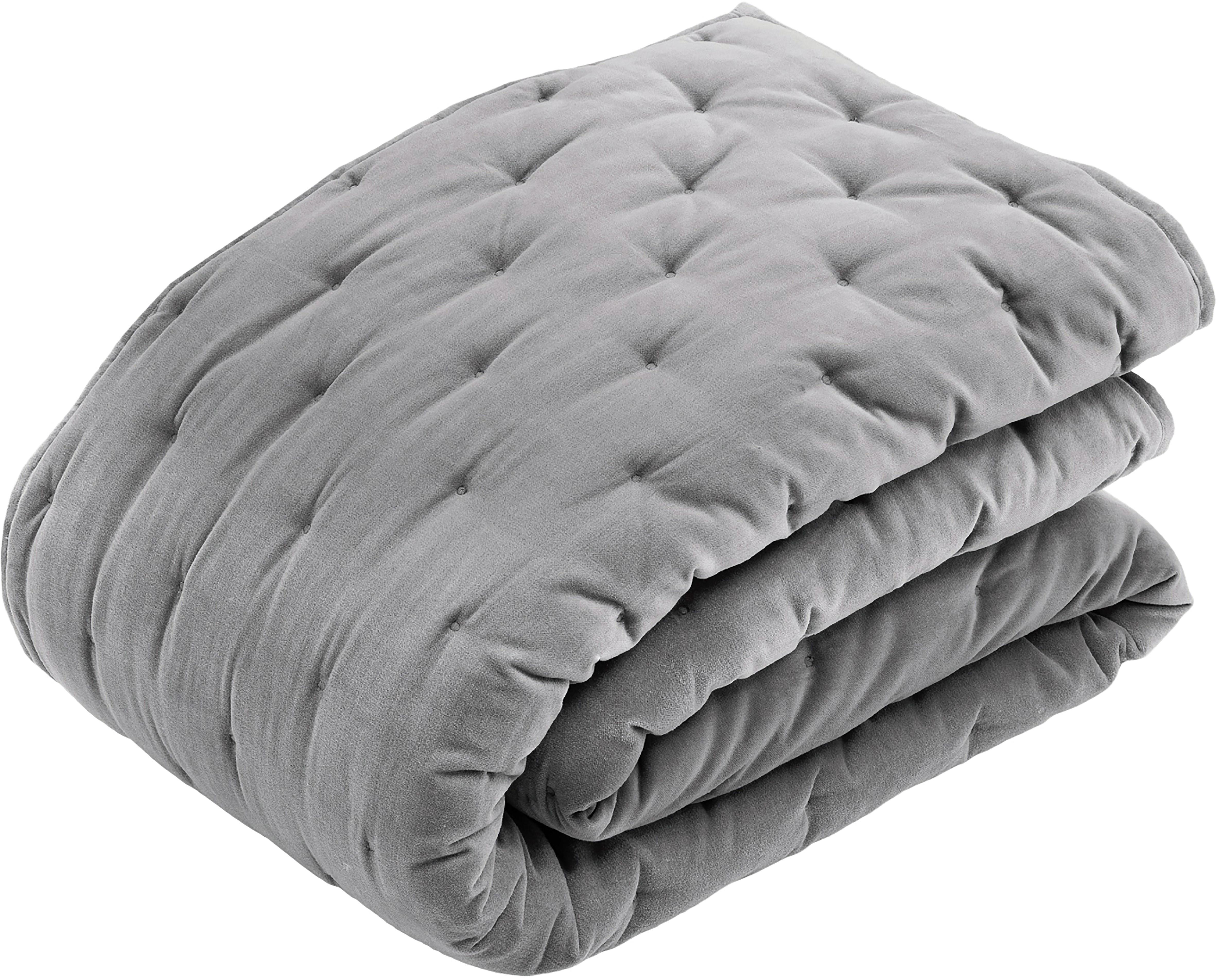 Copriletto imbottito in velluto grigio Cheryl, Retro: cotone, Grigio, Larg. 160 x Lung. 220 cm
