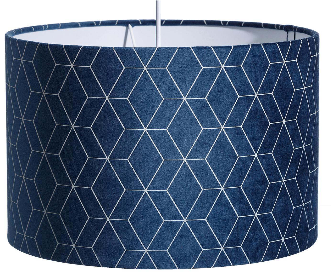 Samt-Pendelleuchte Geometric, Lampenschirm: Polyestersamt, Blau, Silberfarben, Ø 30 x T 30 cm