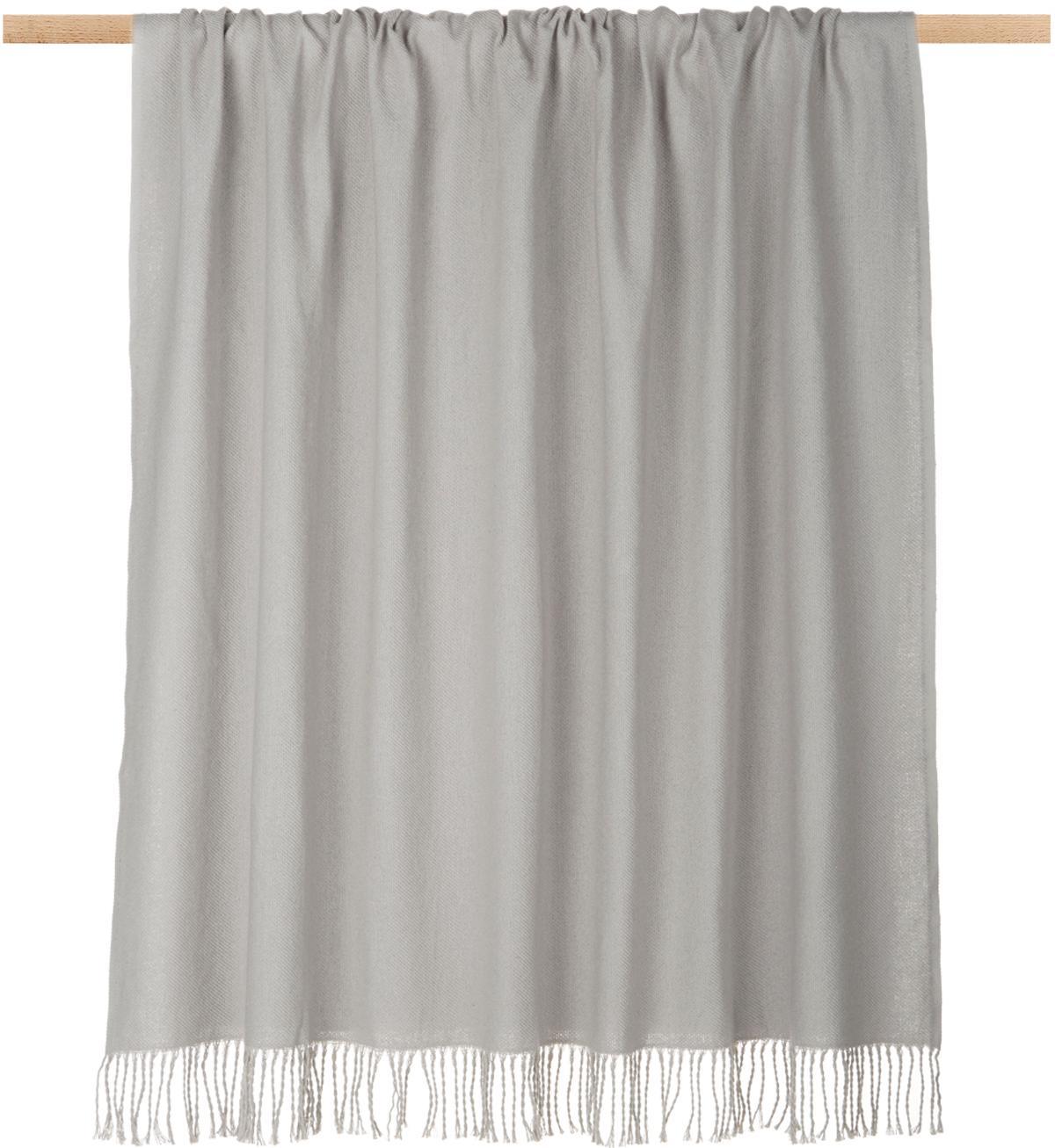 Plaid grigio chiaro con frange Madison, 100% cotone, Grigio chiaro, Larg. 130 x Lung. 170 cm