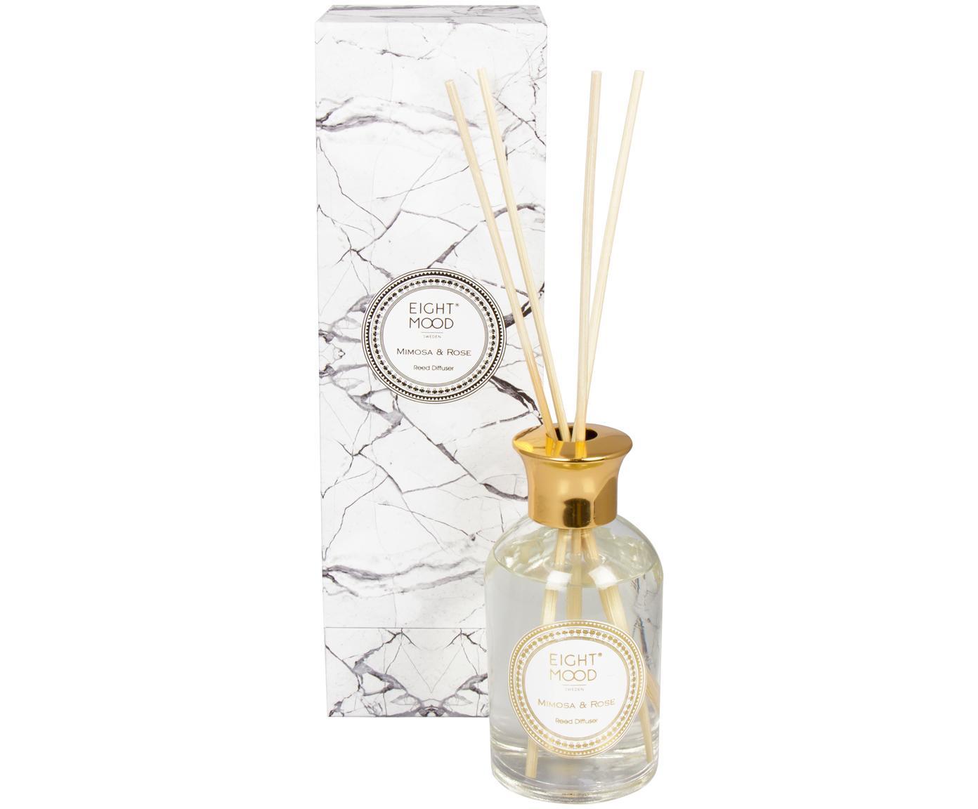 Diffusore White Marble (mimosa e rose), Coperchio: metallo, Flacone: trasparente  coperchio: dorato  bastoni: legno, Ø 9 x A 28 cm