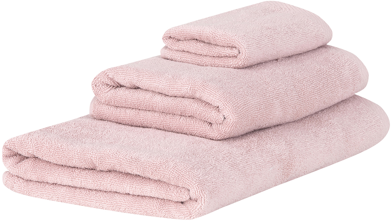 Handdoekenset Comfort, 3-delig, 100% katoen, middelzware kwaliteit, 450 g/m², Oudroze, Verschillende formaten